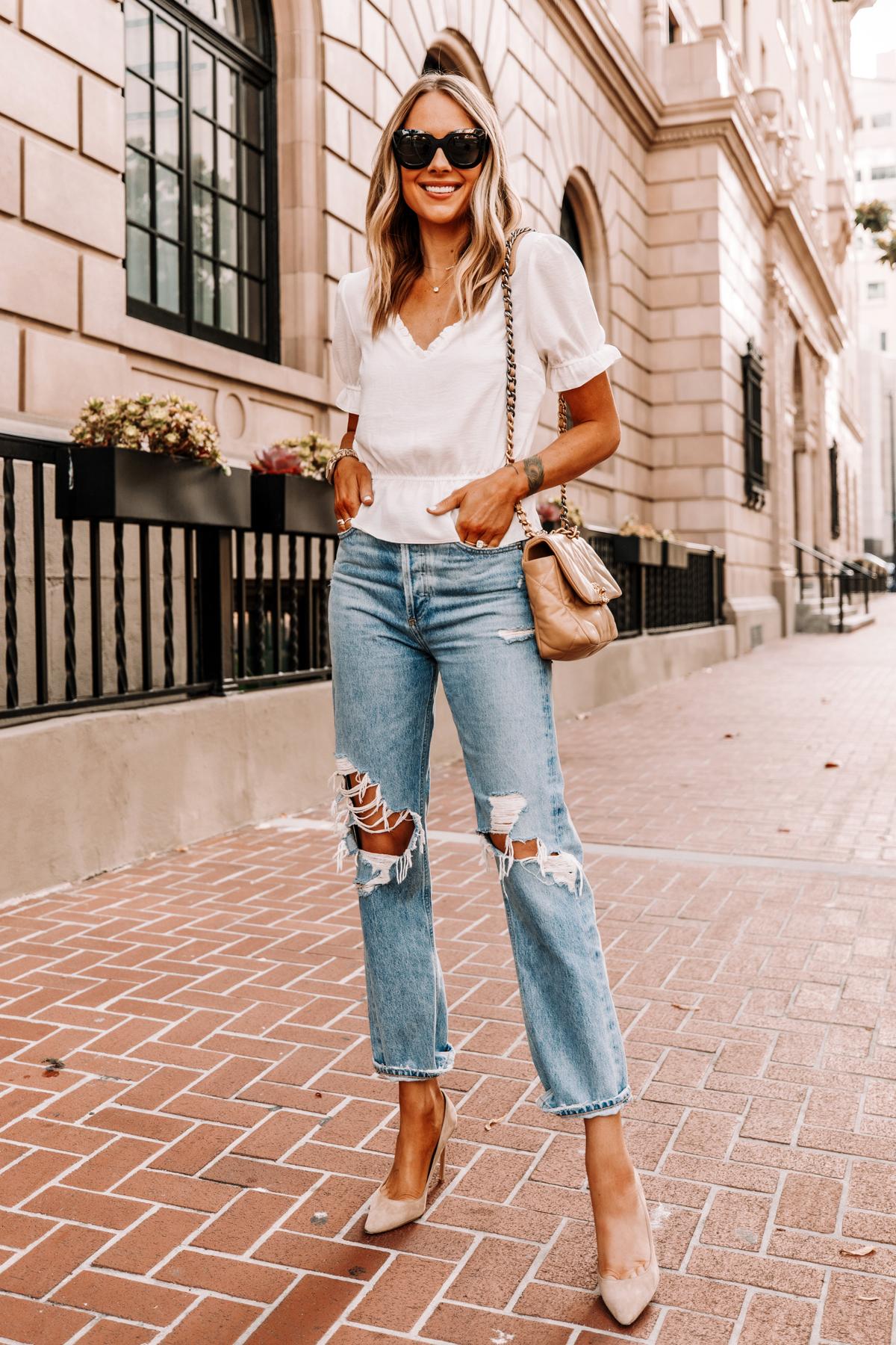 Fashion Jackson Wearing Topshop White Peplum Top AGOLDE Ripped 90s Jeans Nude Pumps Chanel 19 Beige Handbag 1
