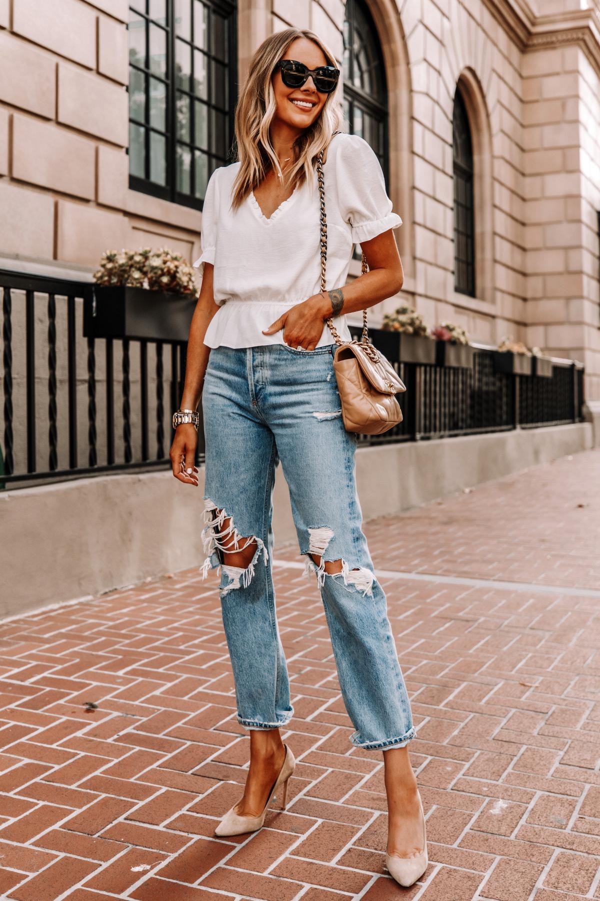 Fashion Jackson Wearing Topshop White Peplum Top AGOLDE Ripped 90s Jeans Nude Pumps Chanel 19 Beige Handbag 2