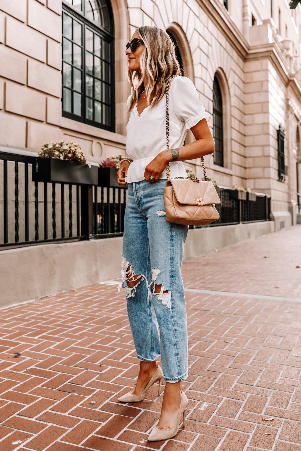 Fashion Jackson Wearing Topshop White Peplum Top AGOLDE Ripped 90s Jeans Nude Pumps Chanel 19 Beige Handbag