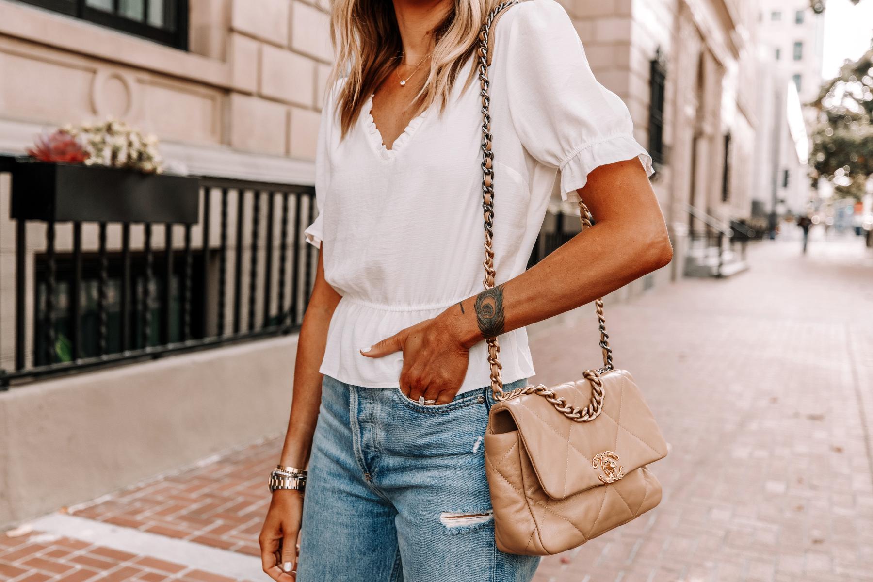 Fashion Jackson Wearing Topshop White Peplum Top Ripped Jeans Chanel 19 Beige Handbag 1