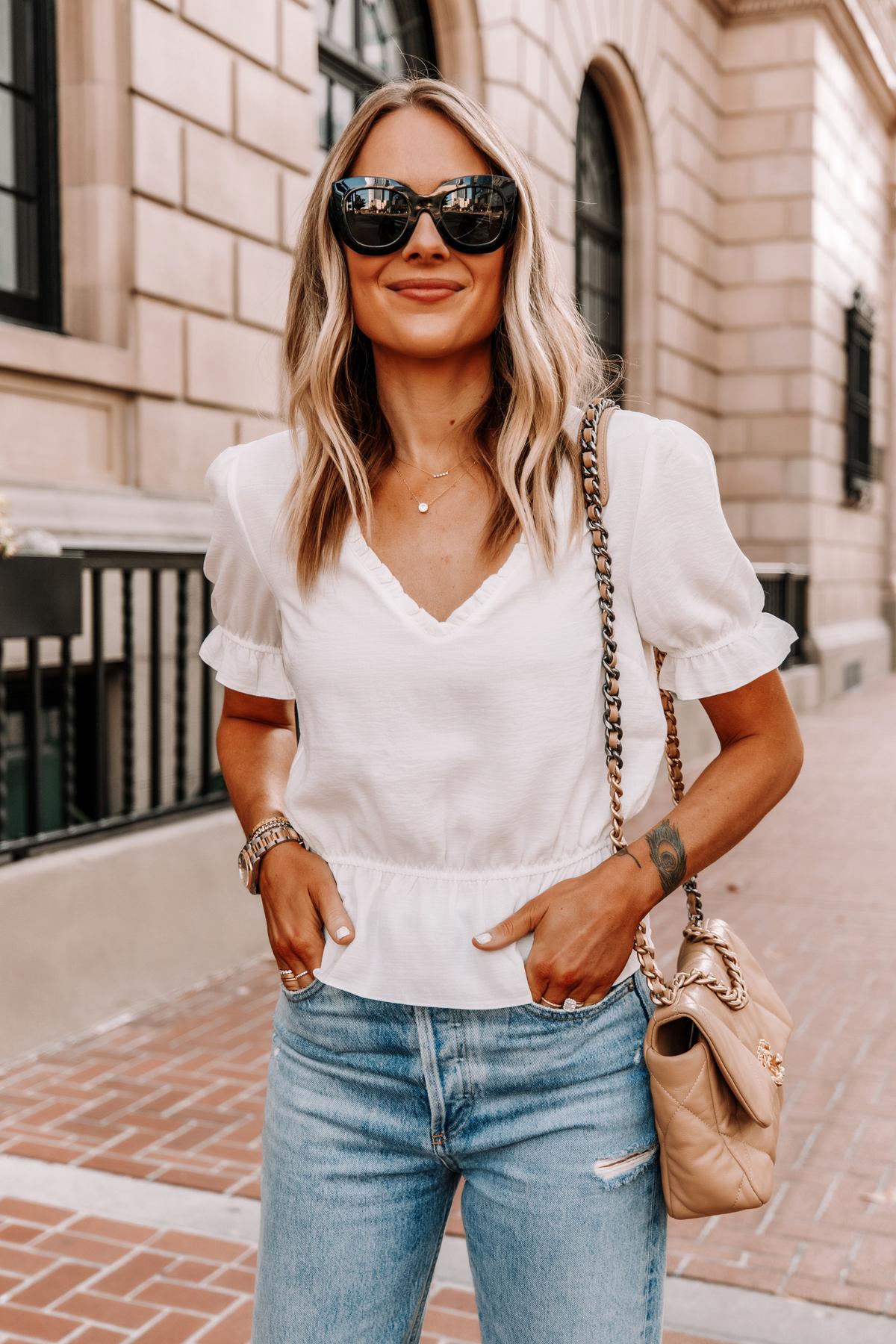 Fashion Jackson Wearing Topshop White Peplum Top Ripped Jeans Chanel 19 Beige Handbag