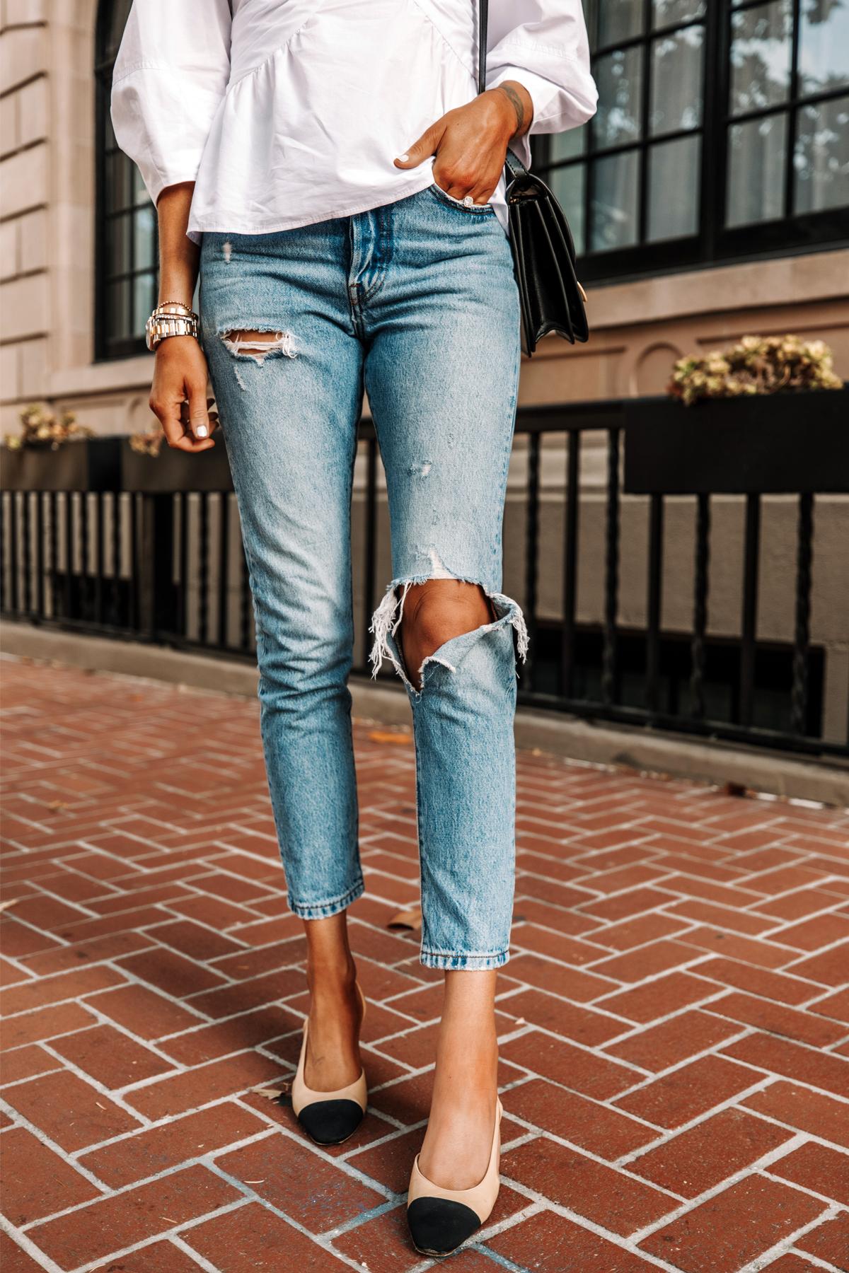 Fashion Jackson Wearing White Blouse Levis 501 Skinny Ripped Jeans Chanel Slingbacks