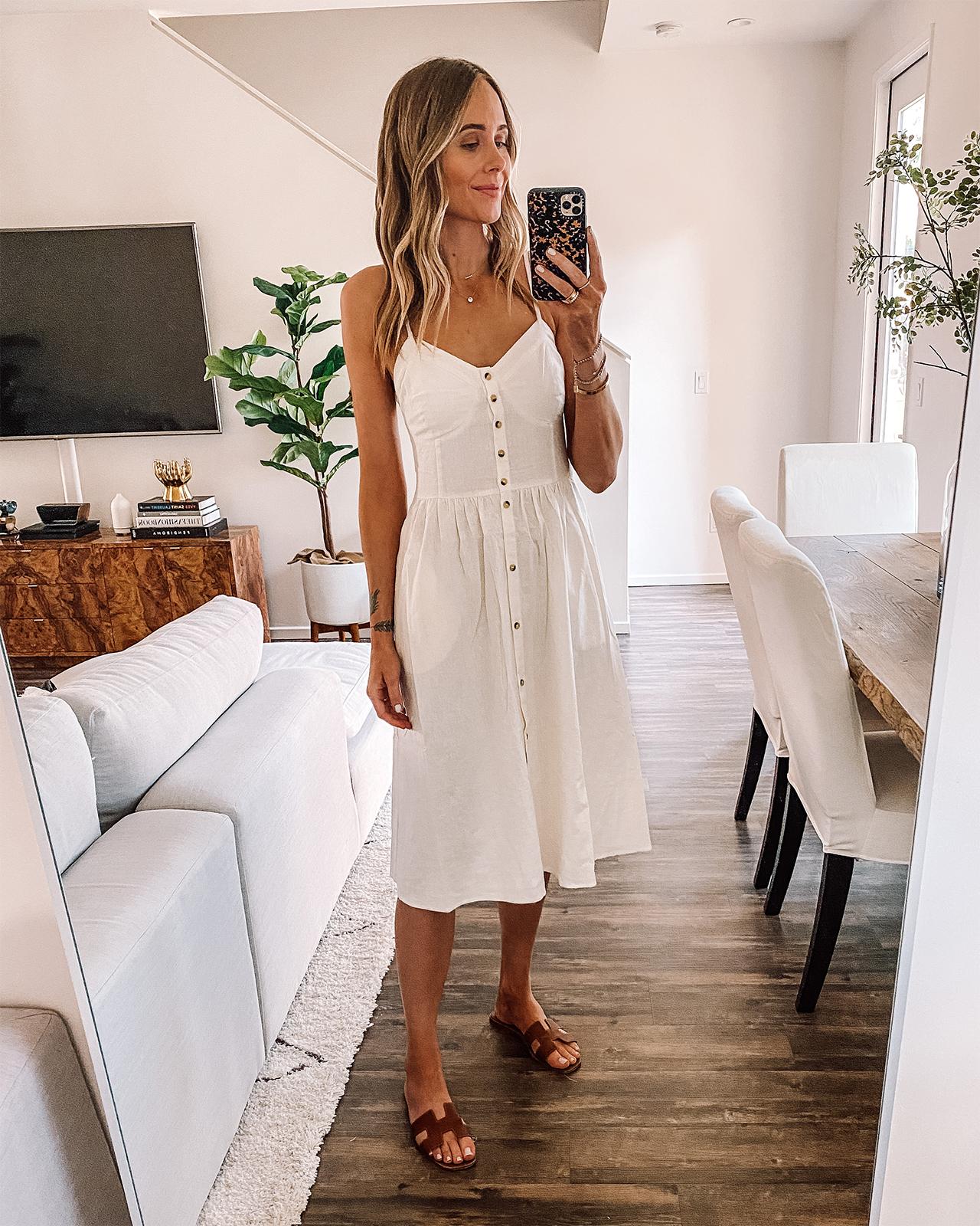 Fashion Jackson Wearing White Button Front Sleeveless Midi Dress