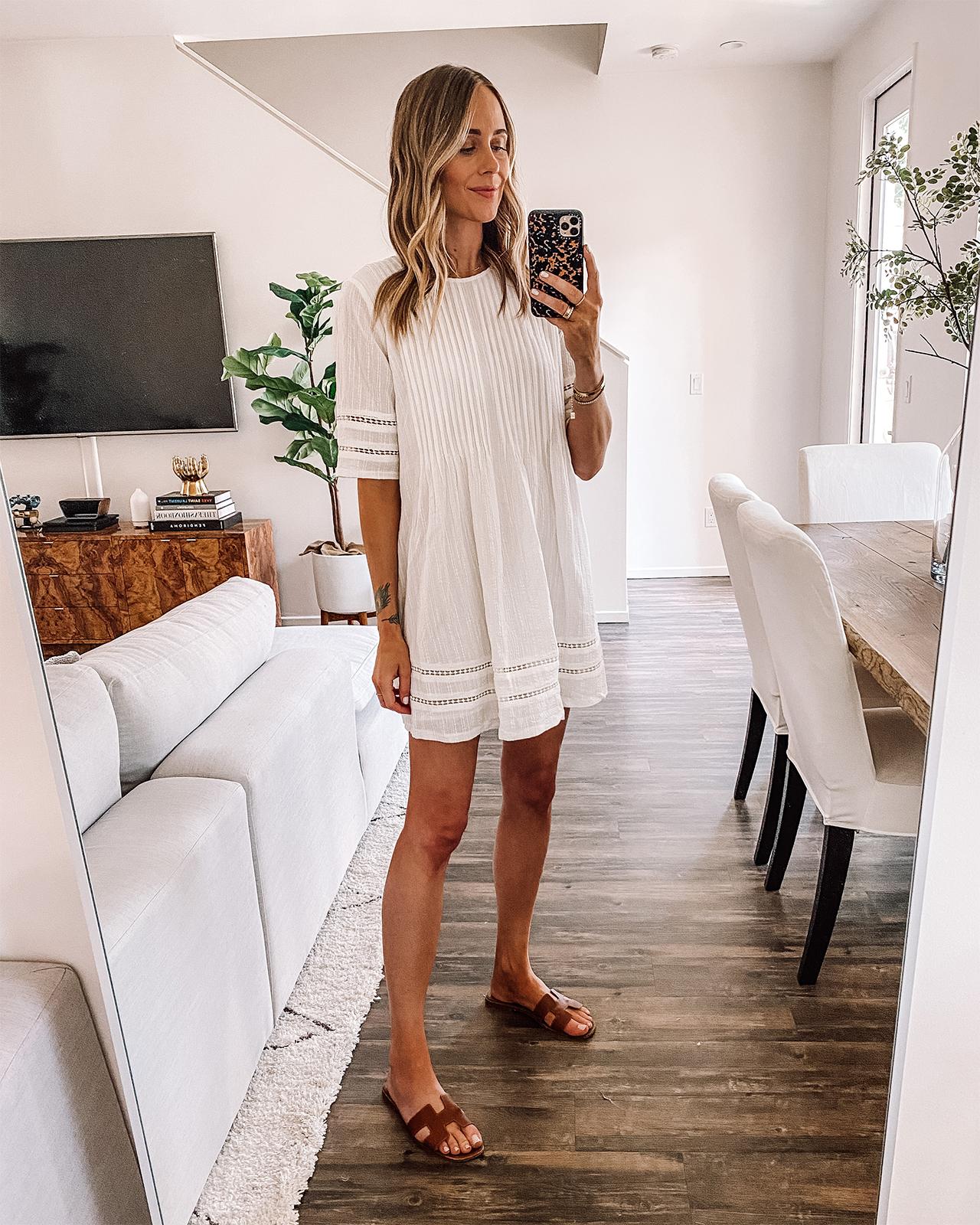 Fashion Jackson Wearing White Pintuck Summer Dress