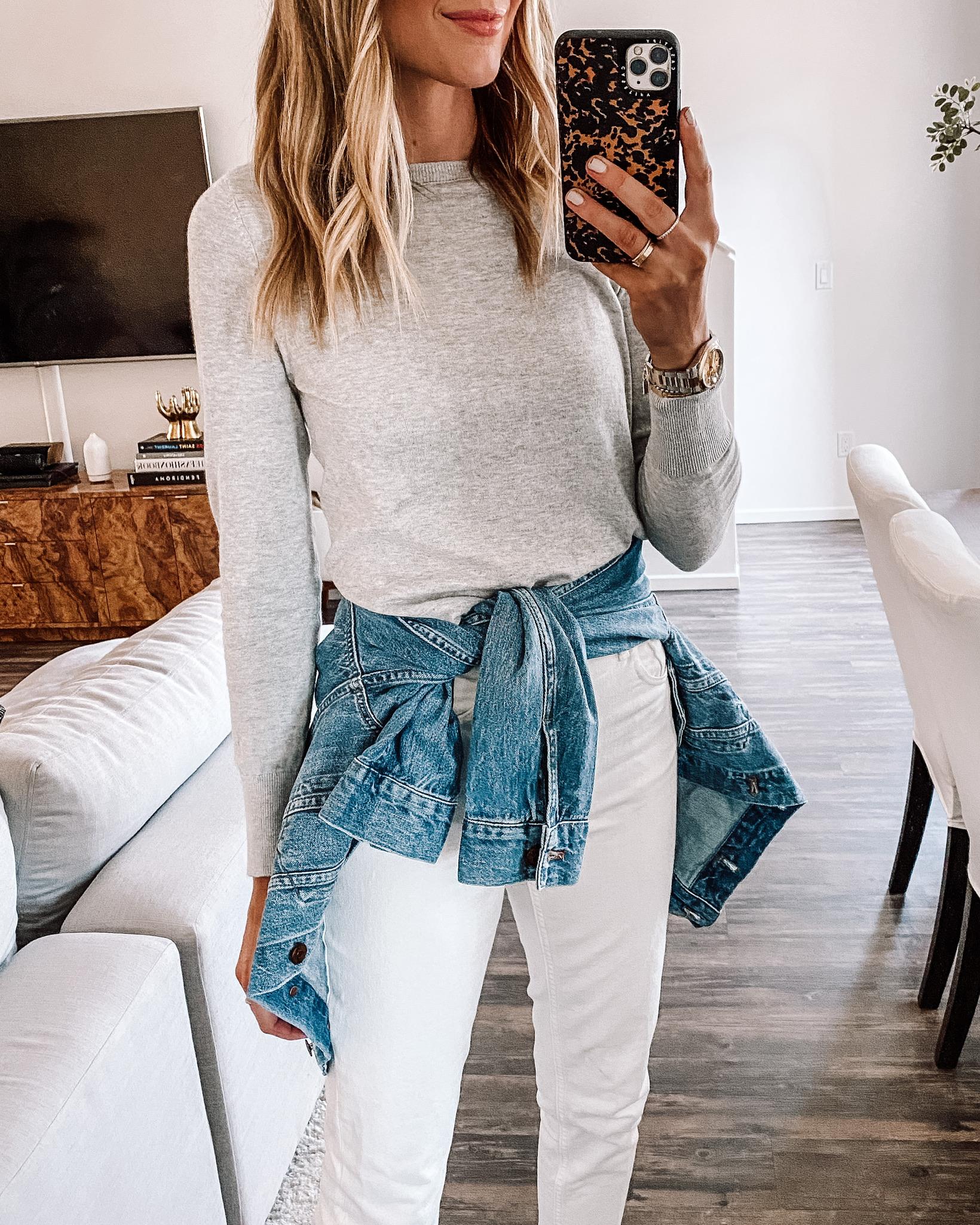 Fashion Jackson Wearing Grey Sweater Denim Jacket White Jeans