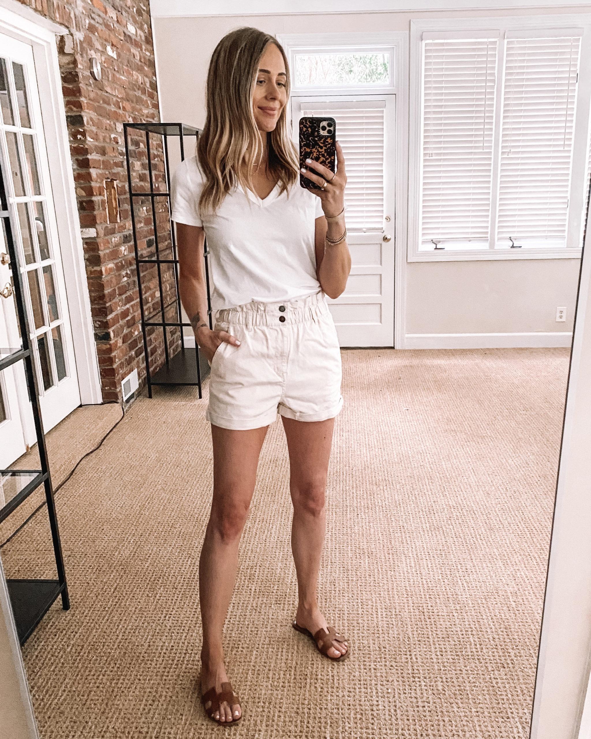 Fashion Jackson Target Finds White Vneck Tshirt White Twill Shorts