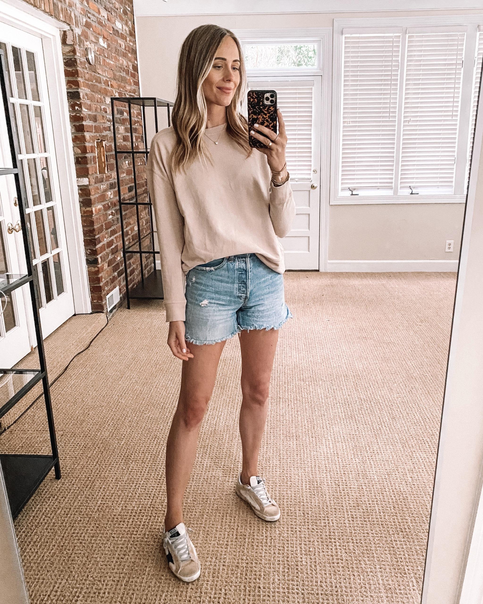 Fashion Jackson Target Finds Blush Sweatshirt Ripped Denim Shorts