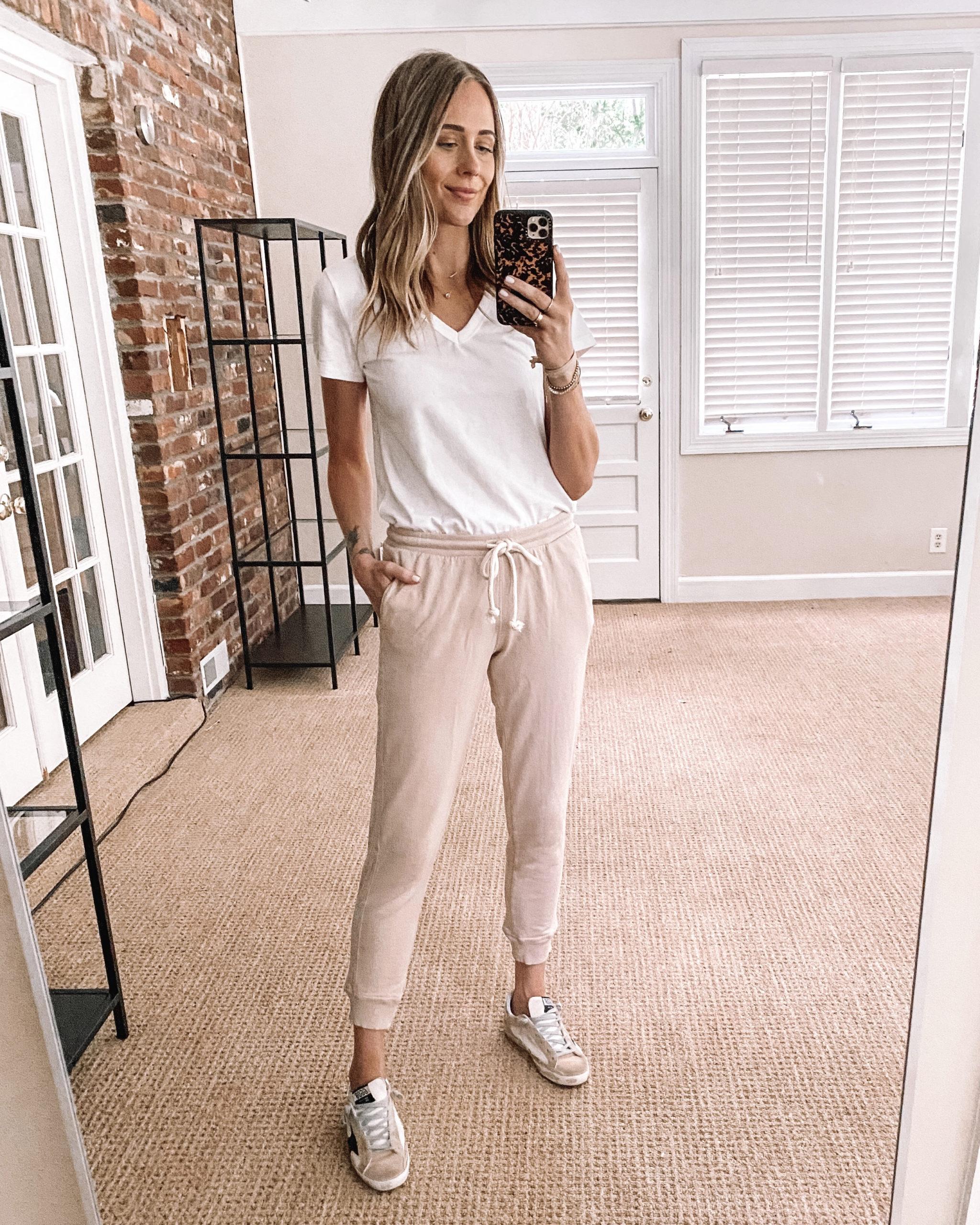 Fashion Jackson Target Finds White Vneck T-Shirt Blush Sweatpants