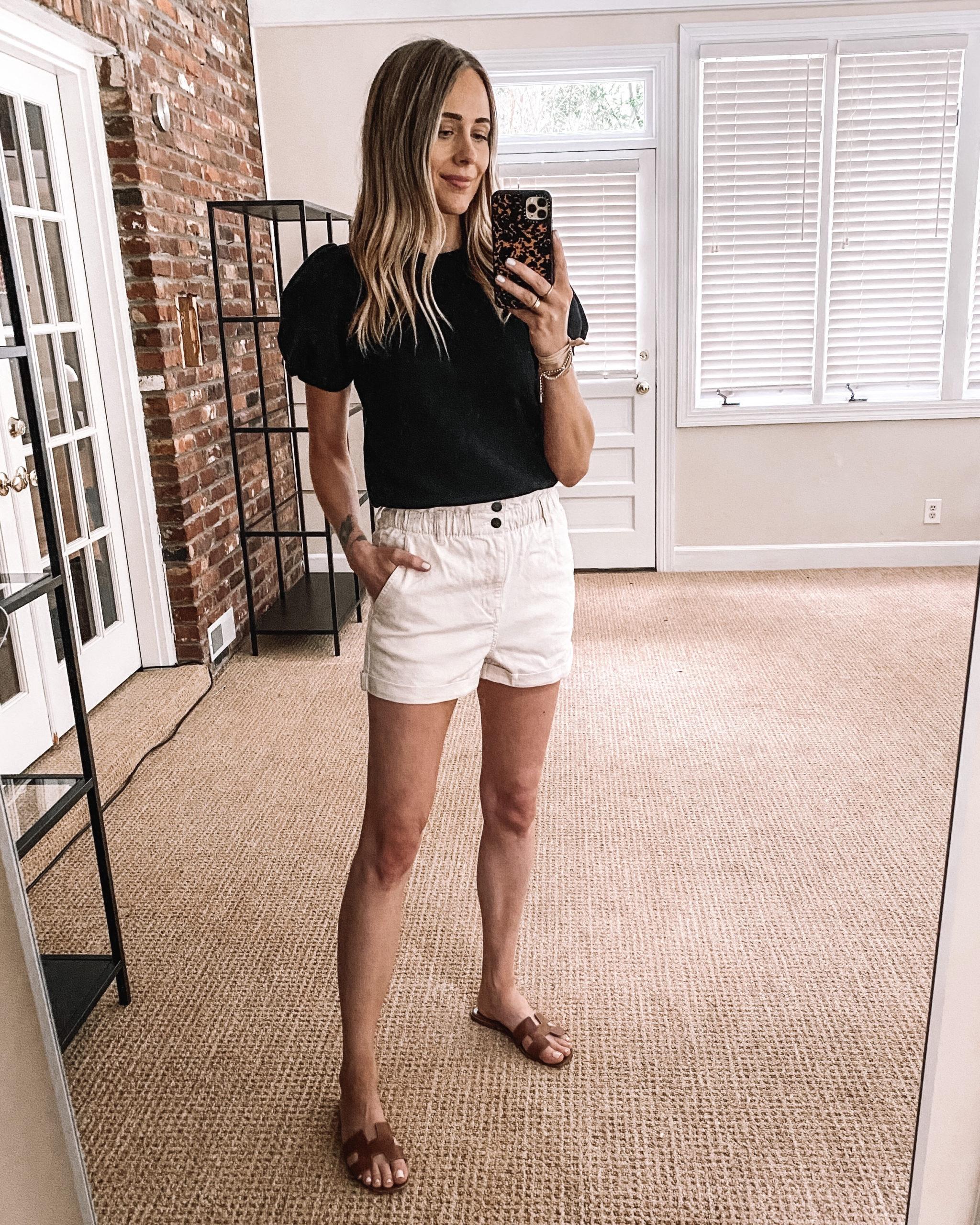 Fashion Jackson Target Finds Black Puff Sleeve Sweatshirt White Twill Shorts