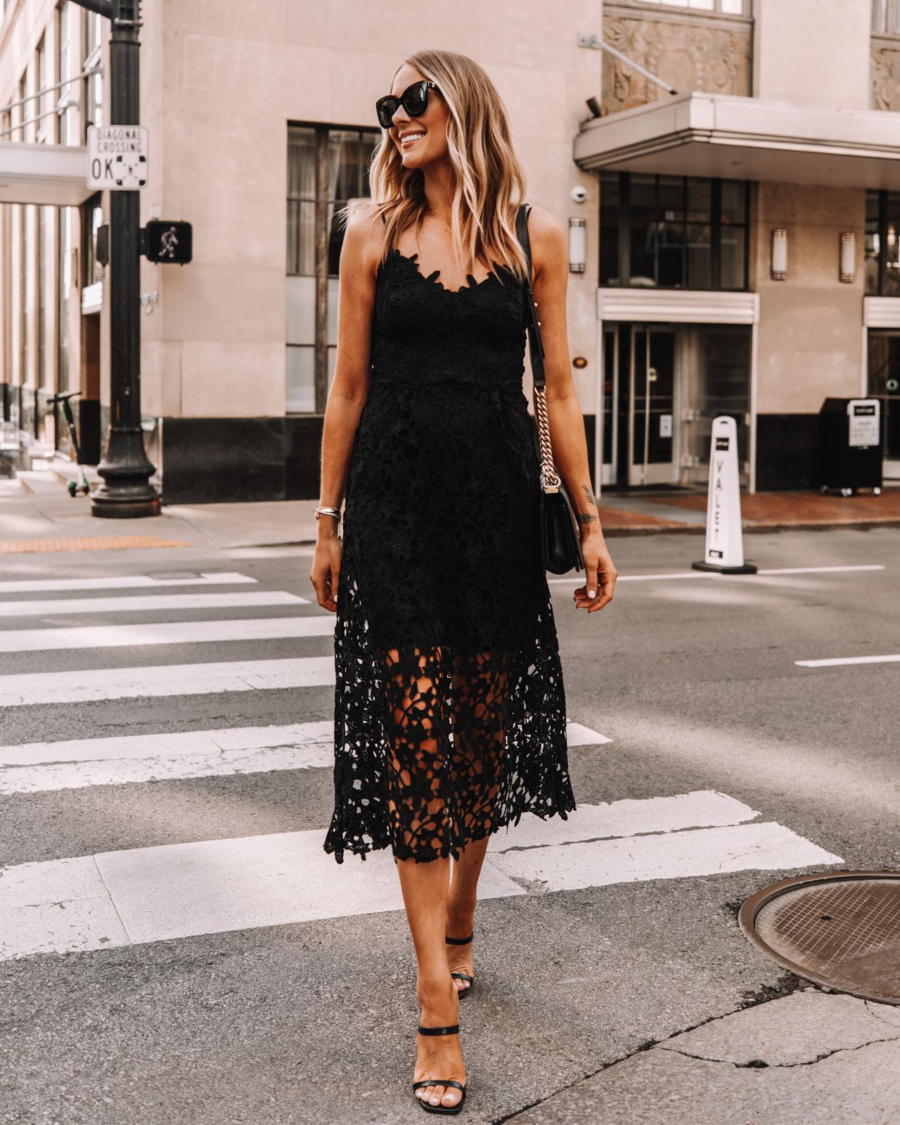 Fashion Jackson Wearing Express Black Lace Midi Dress Black Heeled Sandals