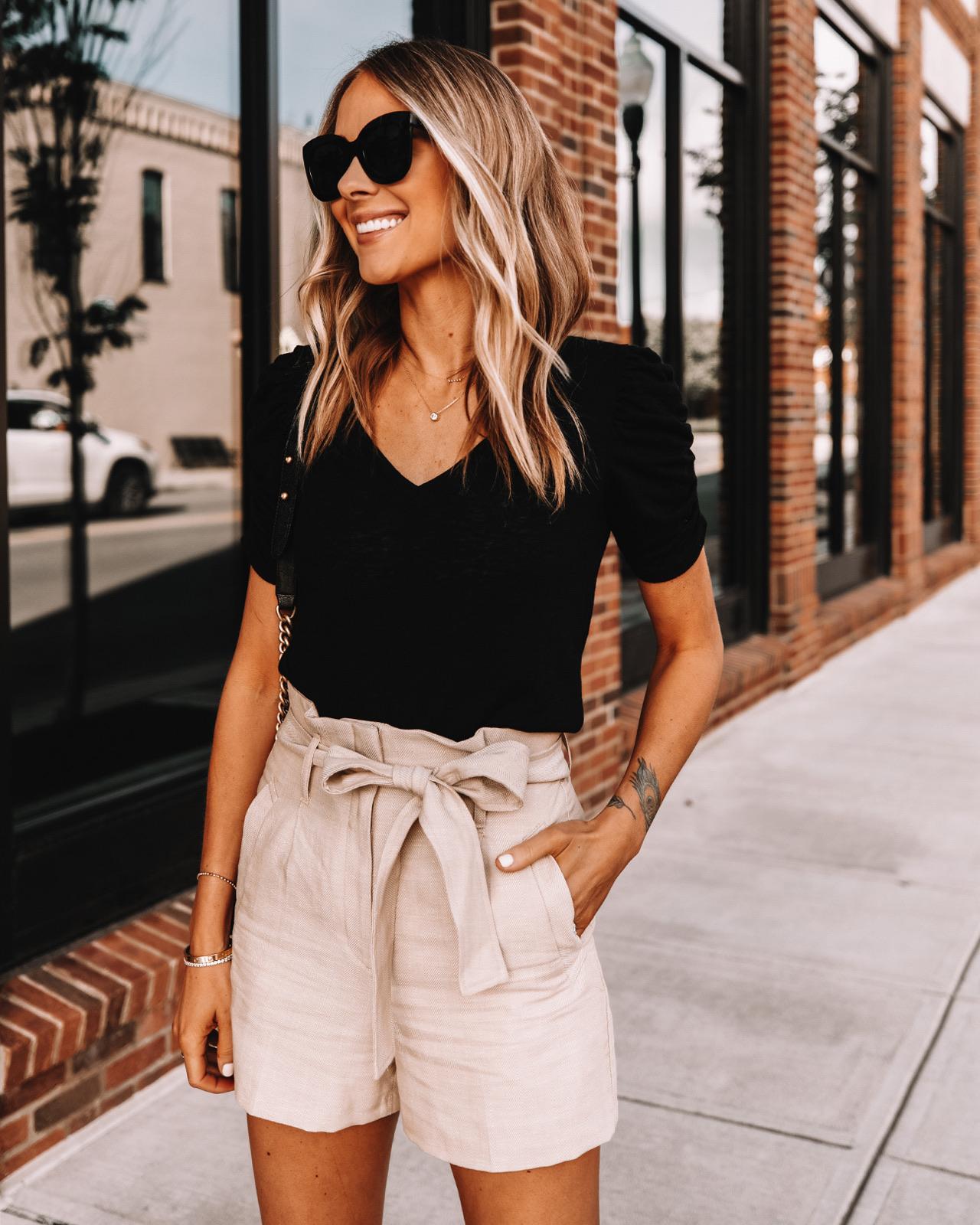 Fashion Jackson Wearing Express Black Tee Tan Paperbag Shorts