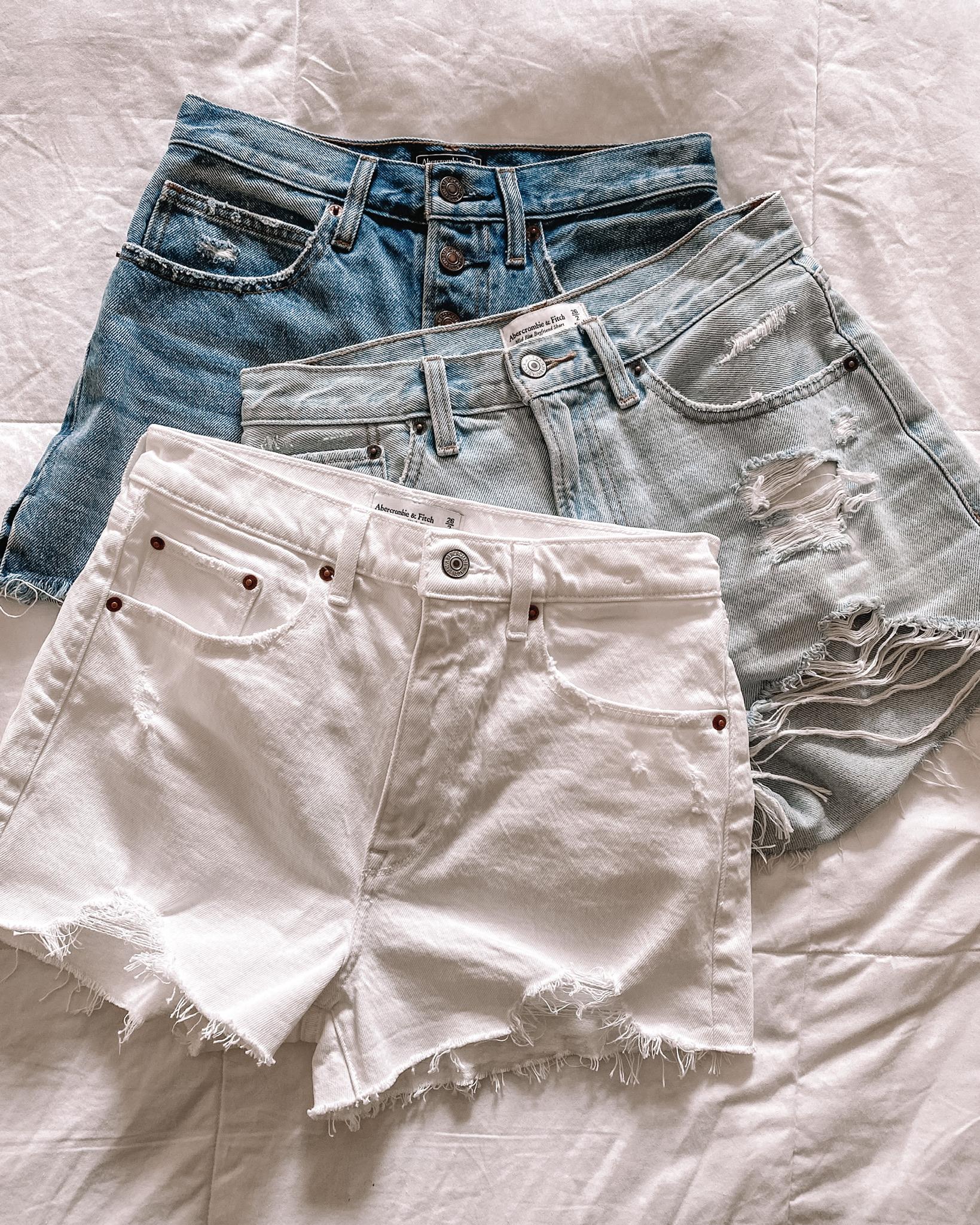 Fashion Jackson Abercrombie Ripped Denim Shorts White Jean Shorts