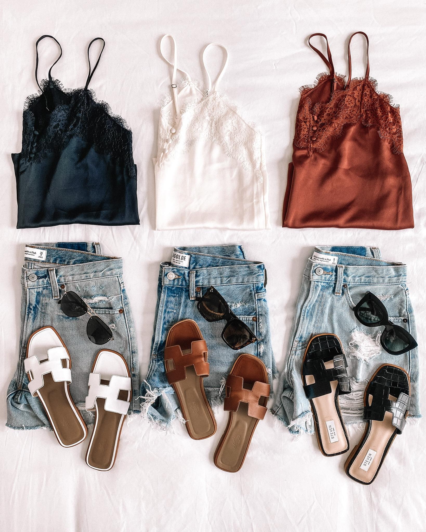 Fashion Jackson Abercrombie Summer Haul Denim Shorts Lace Cami