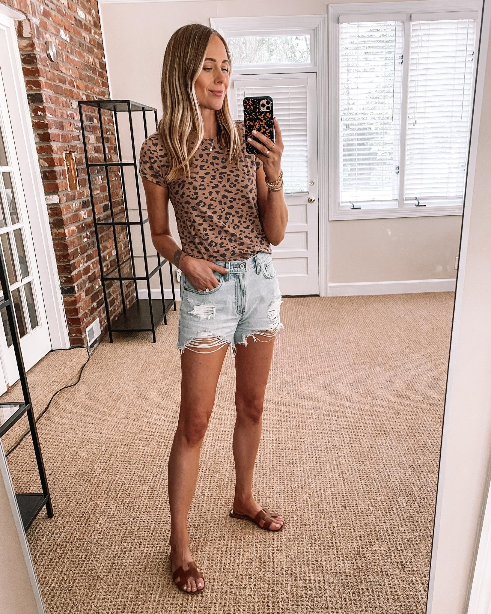 Fashion Jackson Wearing Abercrombie Leopard Tshirt Abercrombie Ripped Denim Shorts