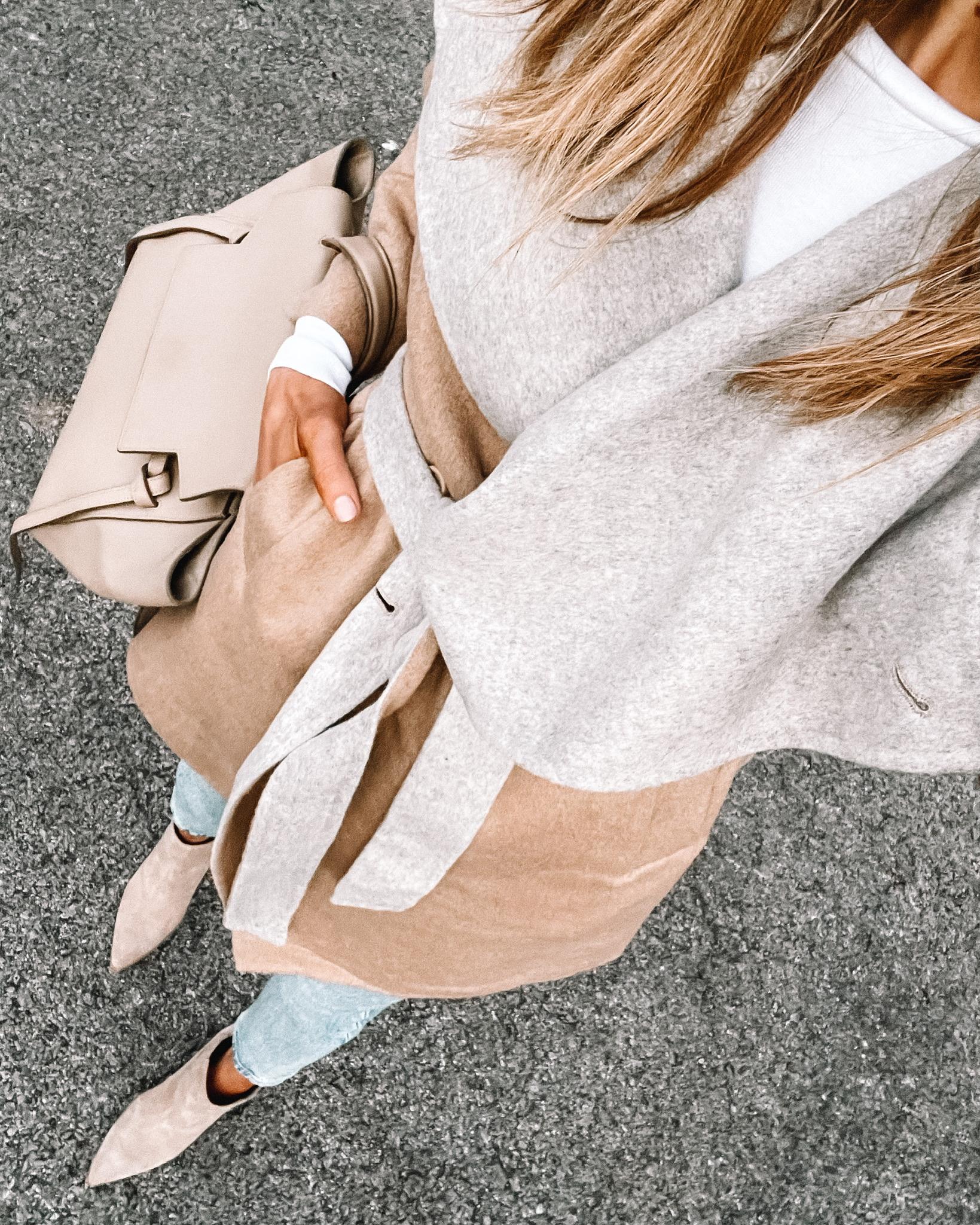 Fashion Jackson Wearing Amazon Fashion Camel Grey Wrap Coat