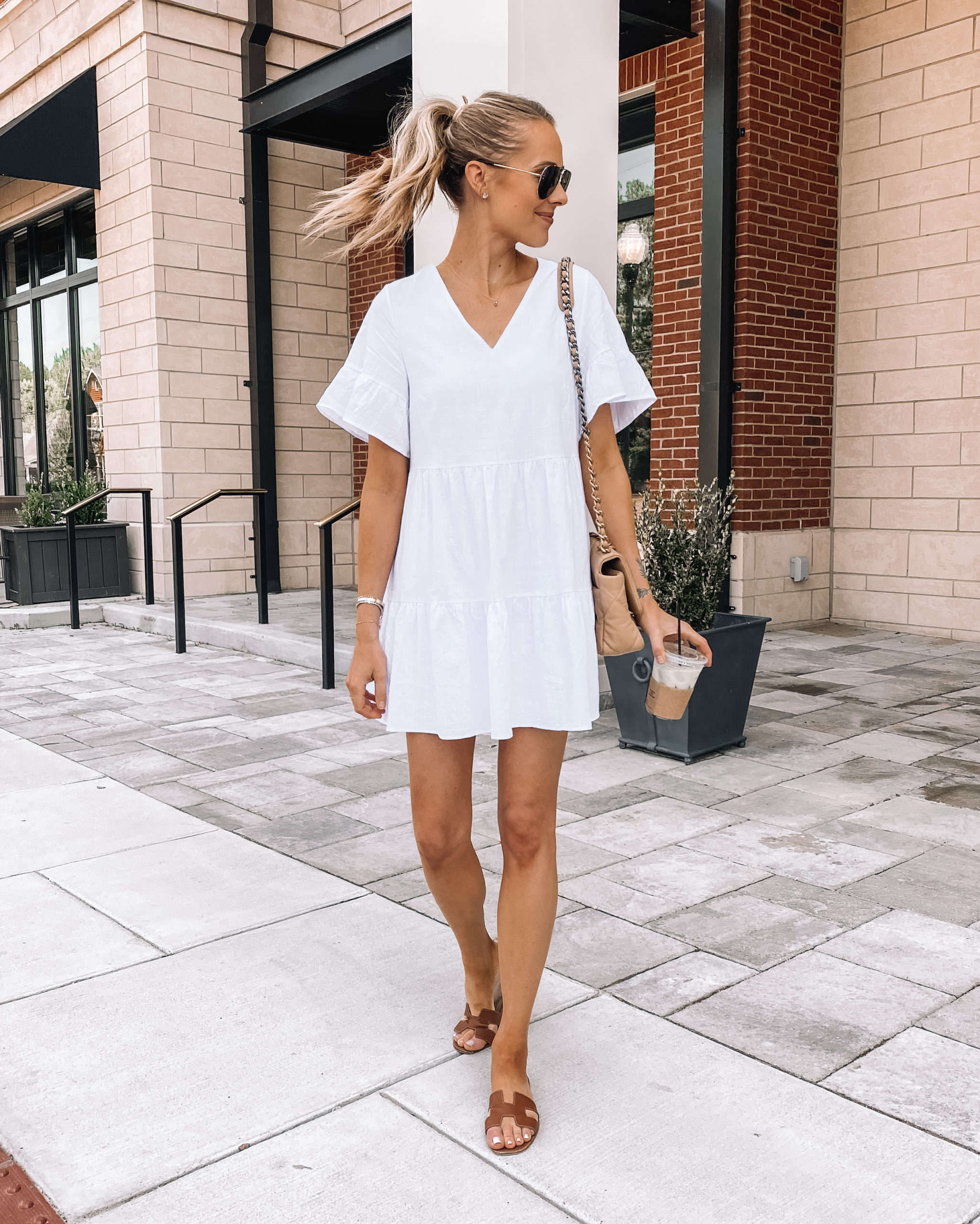Fashion Jackson Wearing Amazon Fashion White Ruffle Dress Tan Sandals
