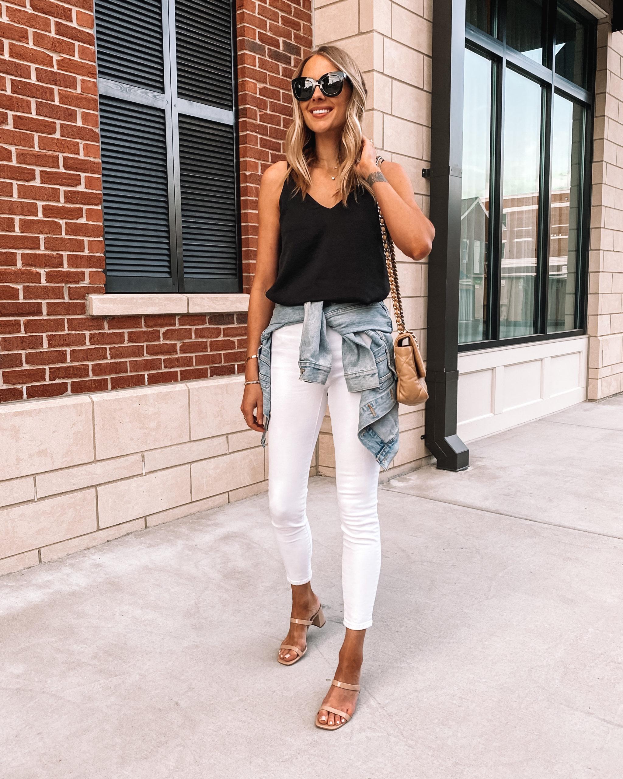 Fashion Jackson Wearing Black Cami Everlane White Skinny Jeans Denim Jacket Beige Sandals