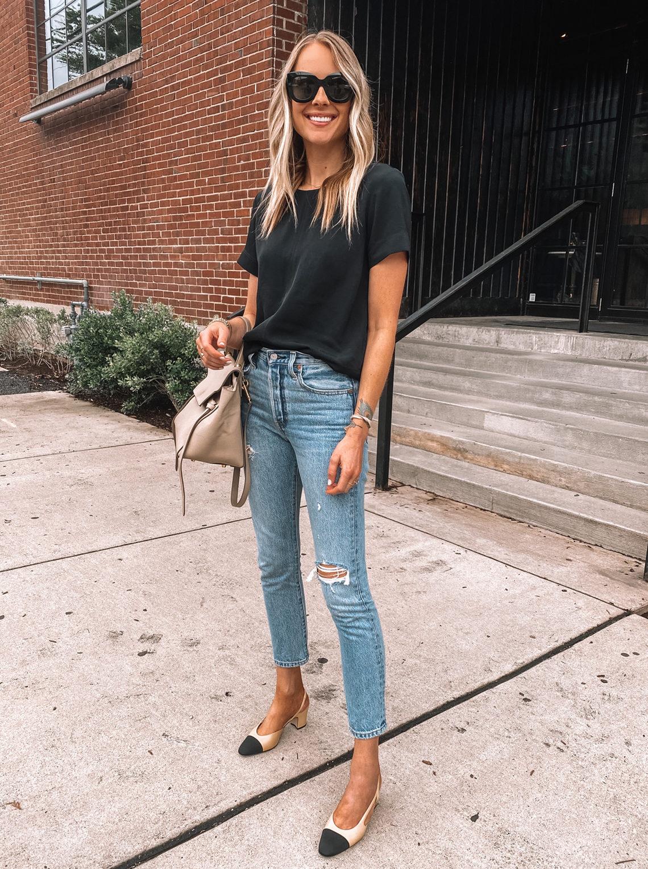 Fashion Jackson Wearing Black Everlane Top Levis Ripped Jeans Chanel Slingbacks