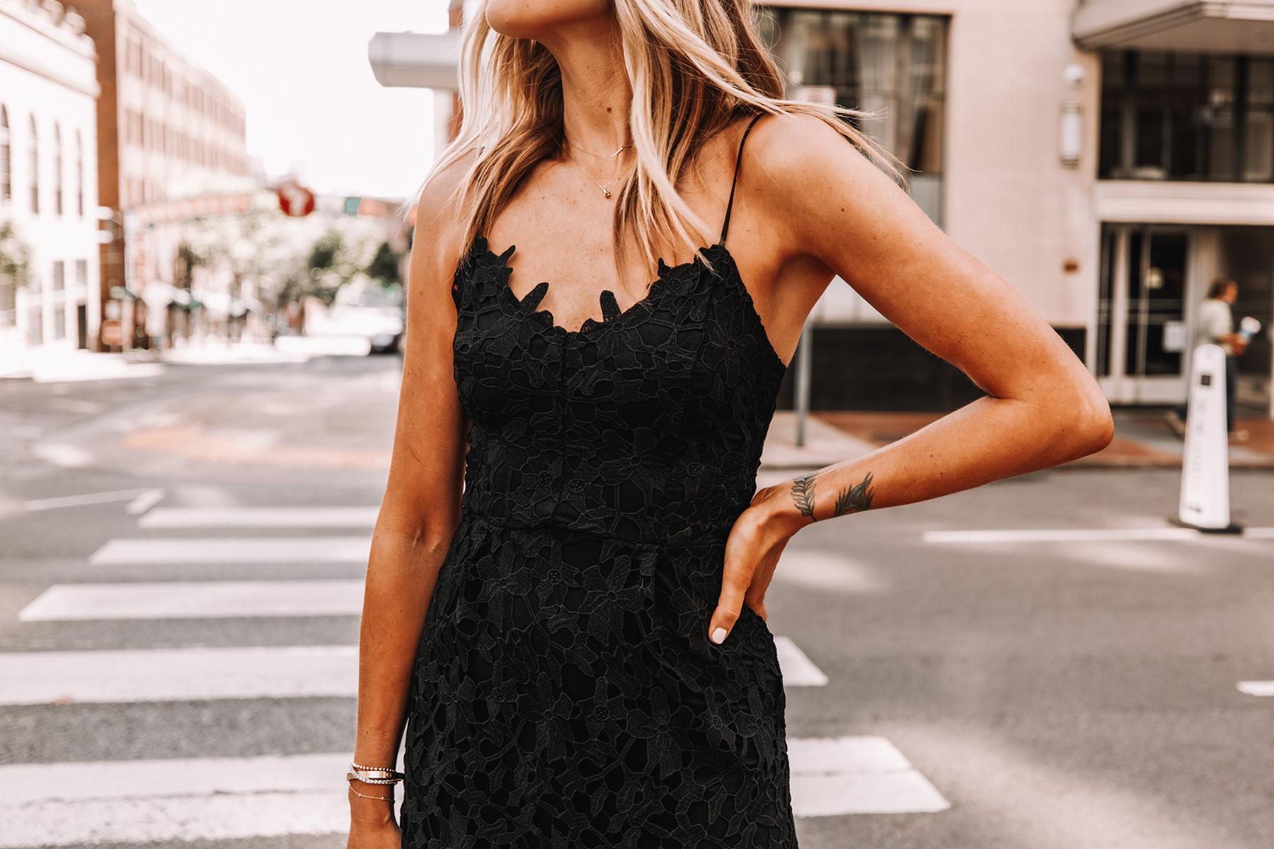 Fashion Jackson Wearing Black Lace Midi Dress Black Celine Sunglasses Cocktail Dress 1