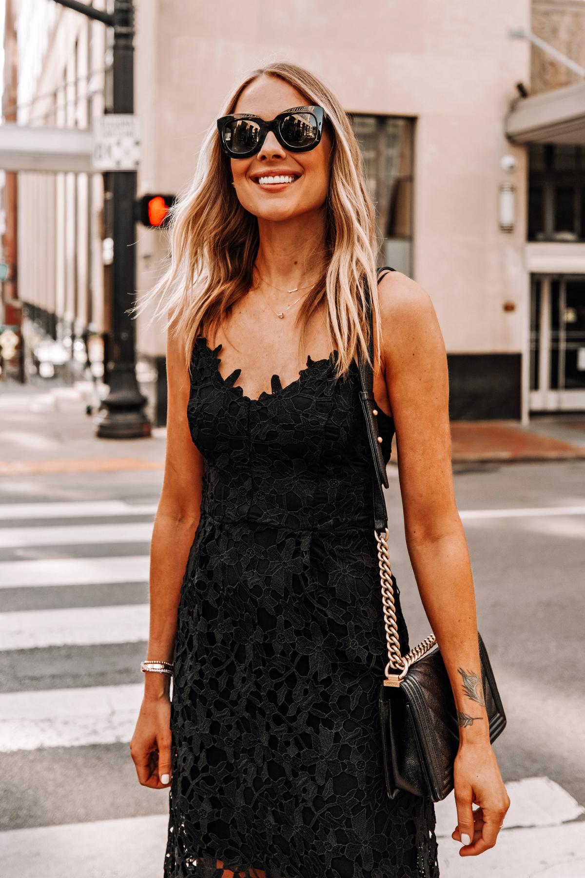 Fashion Jackson Wearing Black Lace Midi Dress Black Celine Sunglasses Cocktail Dress