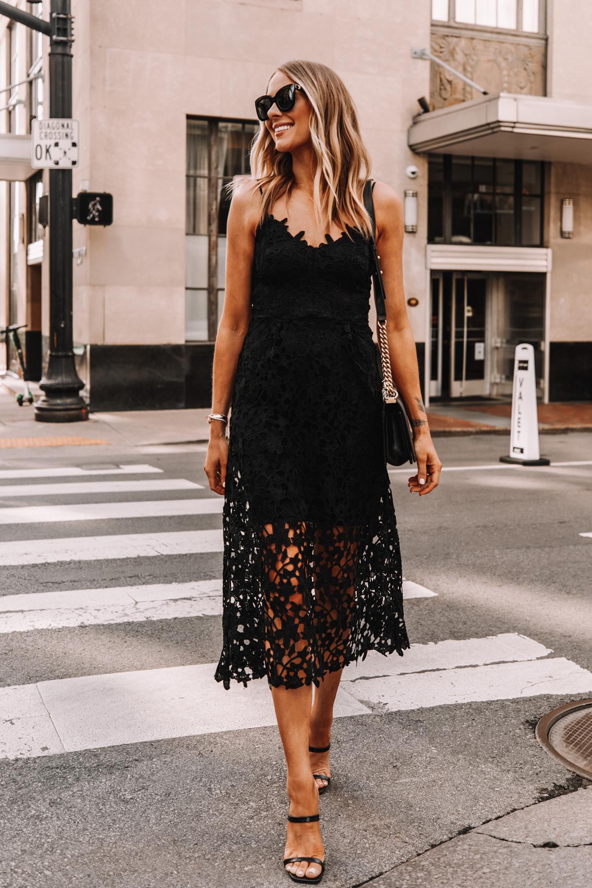 Fashion Jackson Wearing Black Lace Midi Dress Black Heeled Sandals Cocktail Dress 1