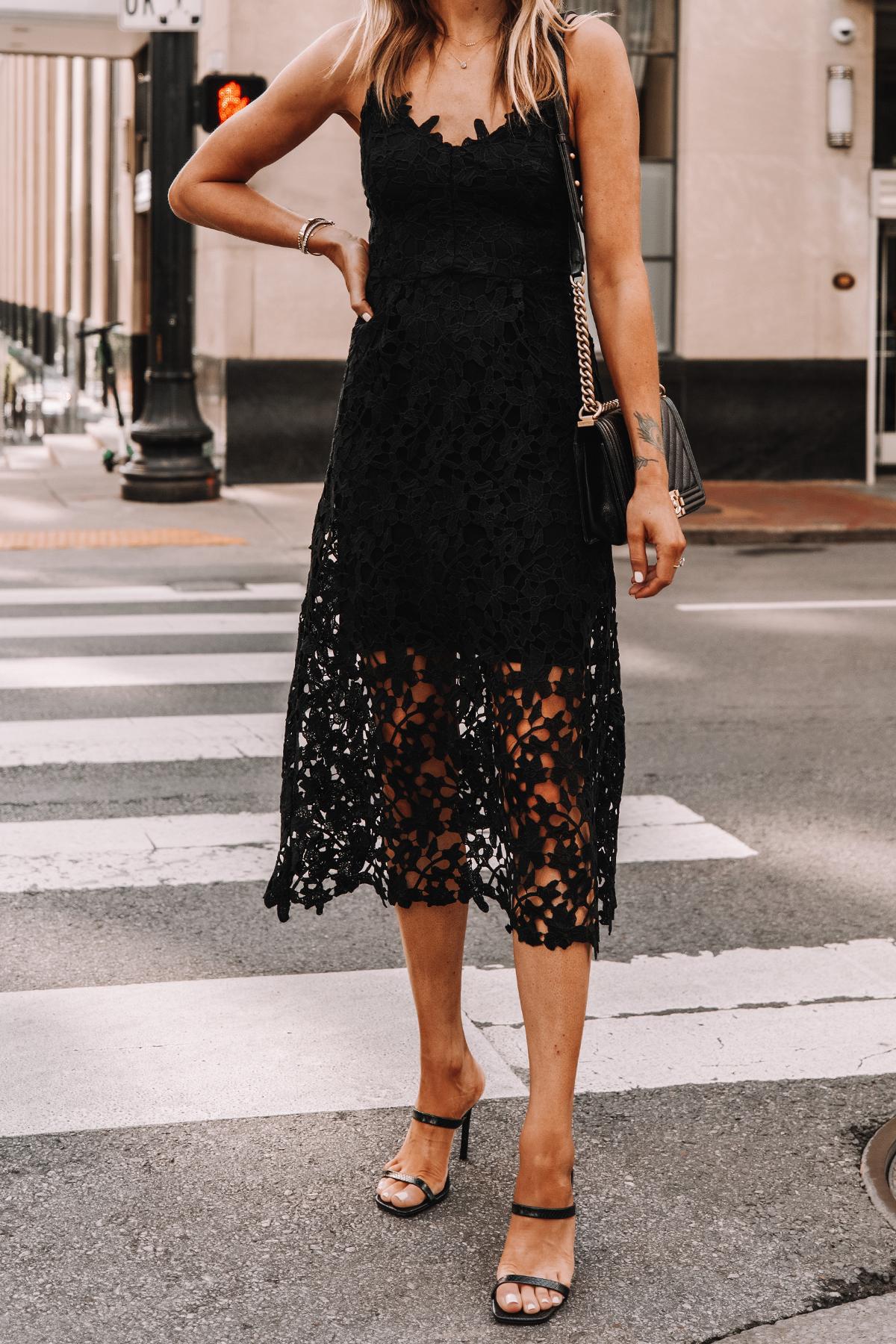 Fashion Jackson Wearing Black Lace Midi Dress Black Heeled Sandals Cocktail Dress 3