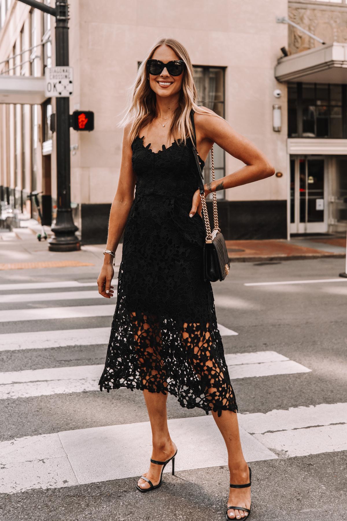 Fashion Jackson Wearing Black Lace Midi Dress Black Heeled Sandals Cocktail Dress 4
