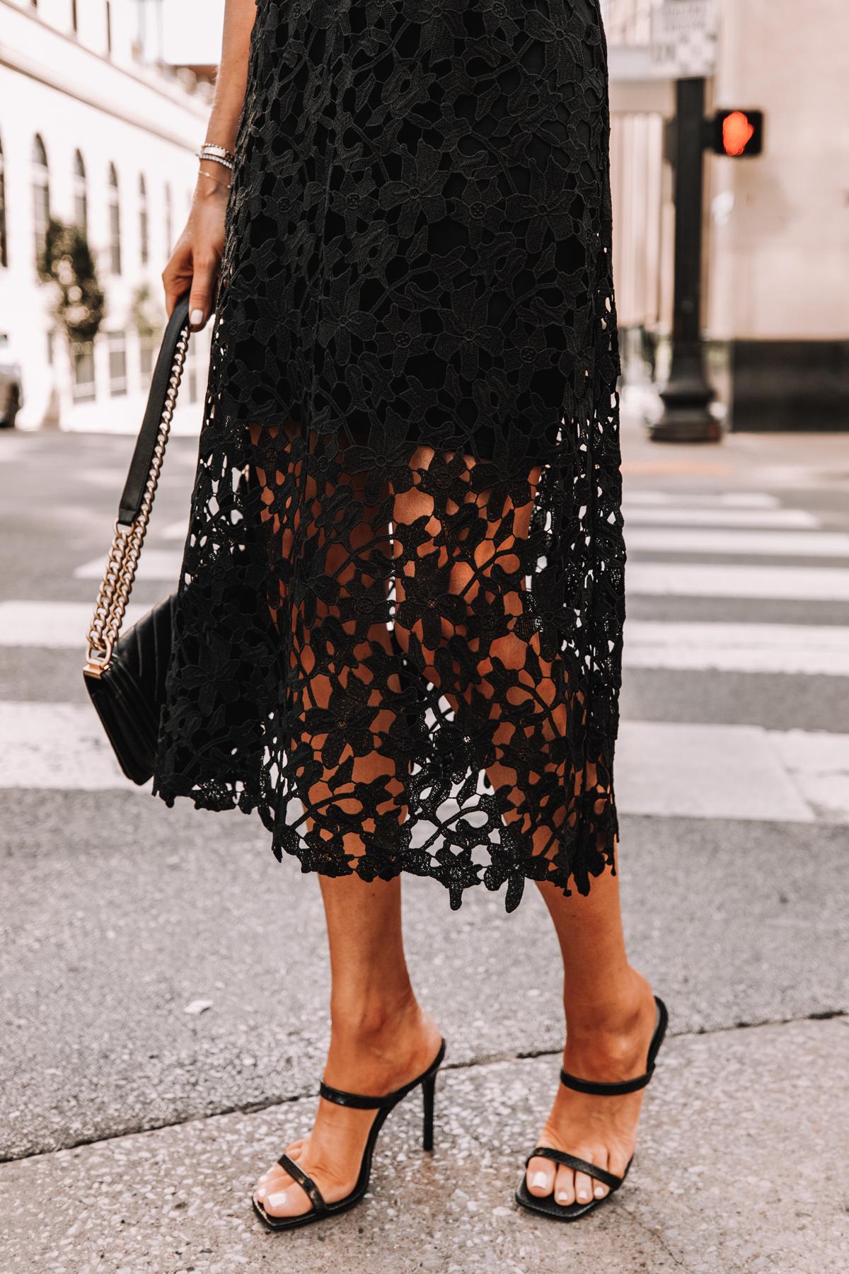 Fashion Jackson Wearing Black Lace Midi Dress Black Heeled Sandals Cocktail Dress