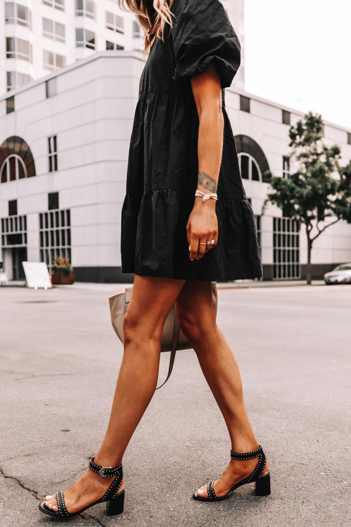 Fashion Jackson Wearing Black Ruffle Dress Givenchy Elegant 60 studded leather sandals Black 1