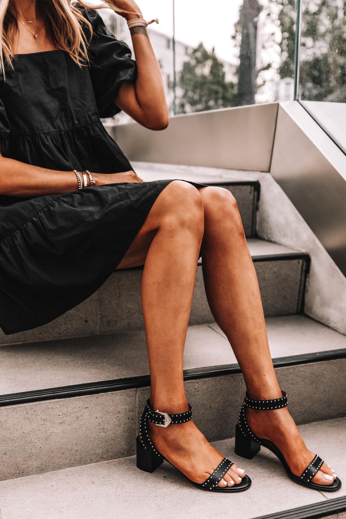 Fashion Jackson Wearing Black Ruffle Dress Givenchy Elegant 60 studded leather sandals Black 2