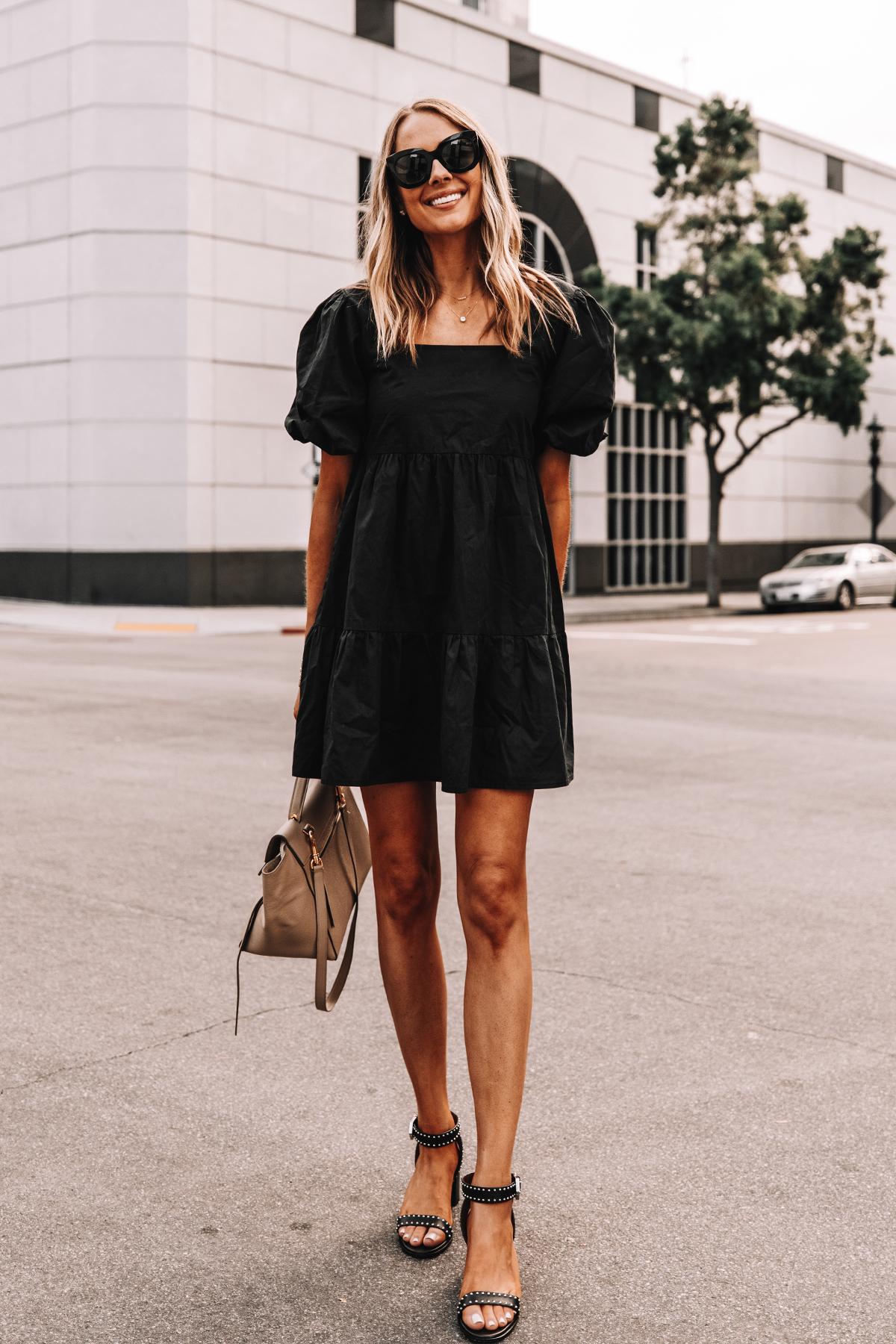 Fashion Jackson Wearing Black Ruffle Dress Givenchy Elegant 60 studded leather sandals Black 3