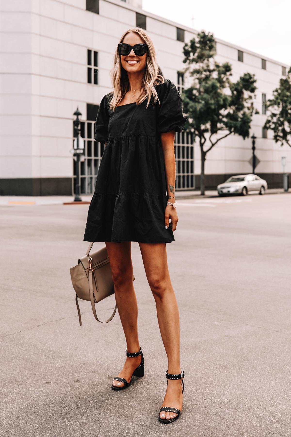 Fashion Jackson Wearing Black Ruffle Dress Givenchy Elegant 60 studded leather sandals Black 4