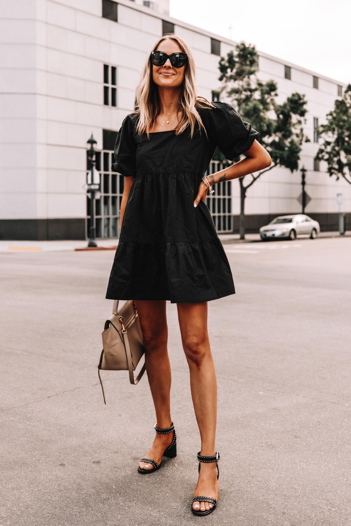 Fashion Jackson Wearing Black Ruffle Dress Givenchy Elegant 60 studded leather sandals Black 5