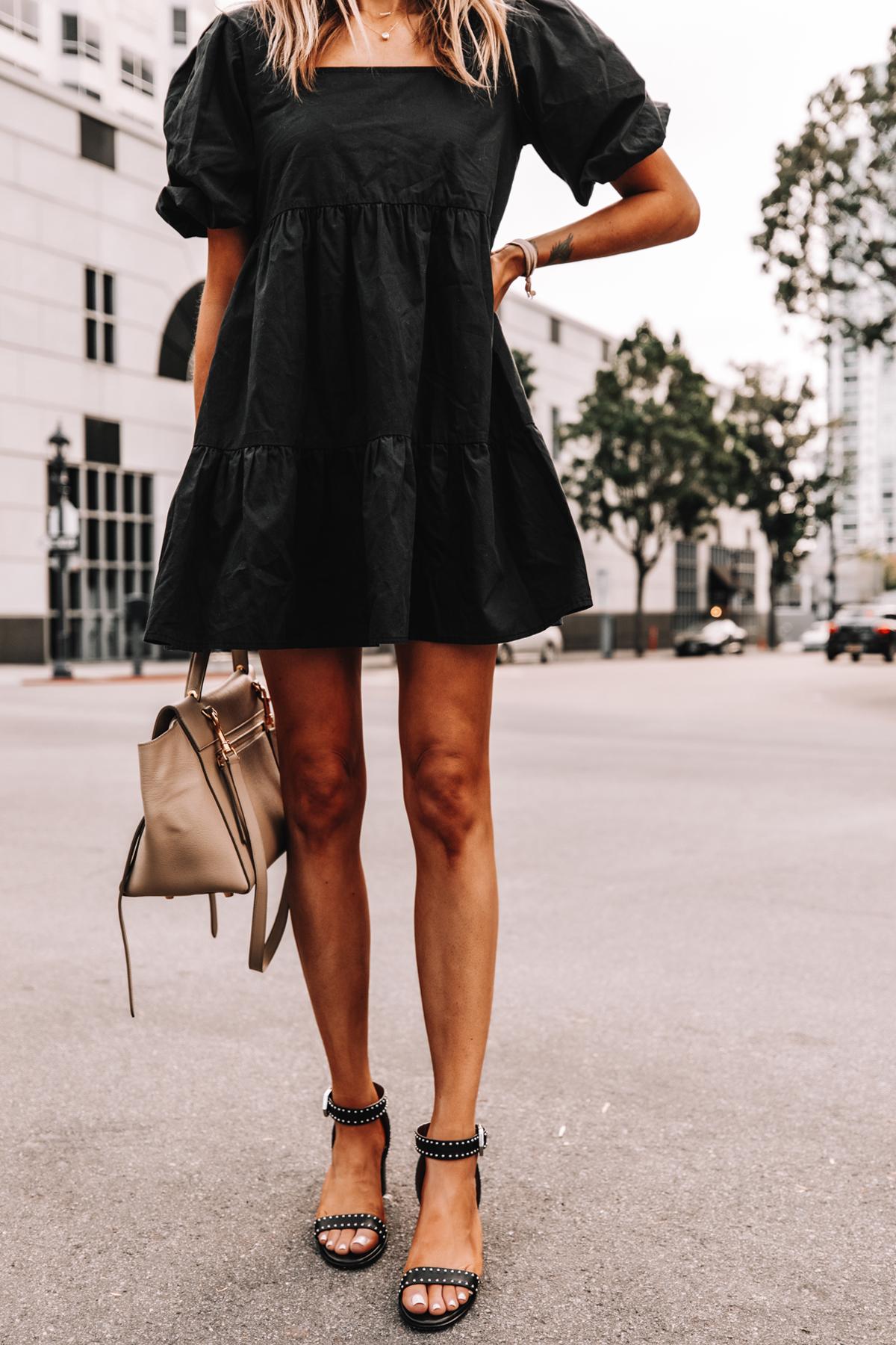 Fashion Jackson Wearing Black Ruffle Dress Givenchy Elegant 60 studded leather sandals Black