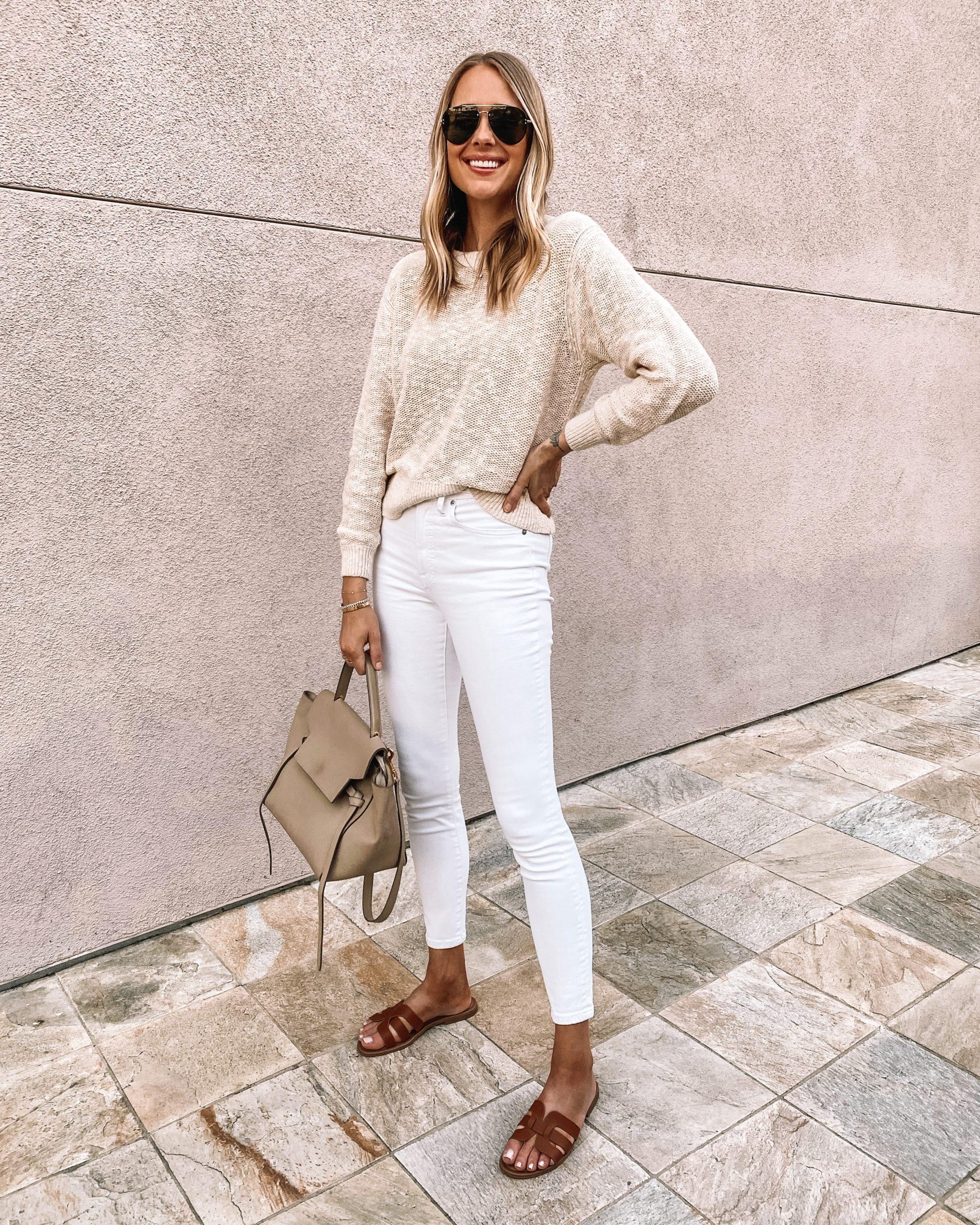 Fashion Jackson Wearing Everlane Beige Sweater Everlane White Skinny Jeans