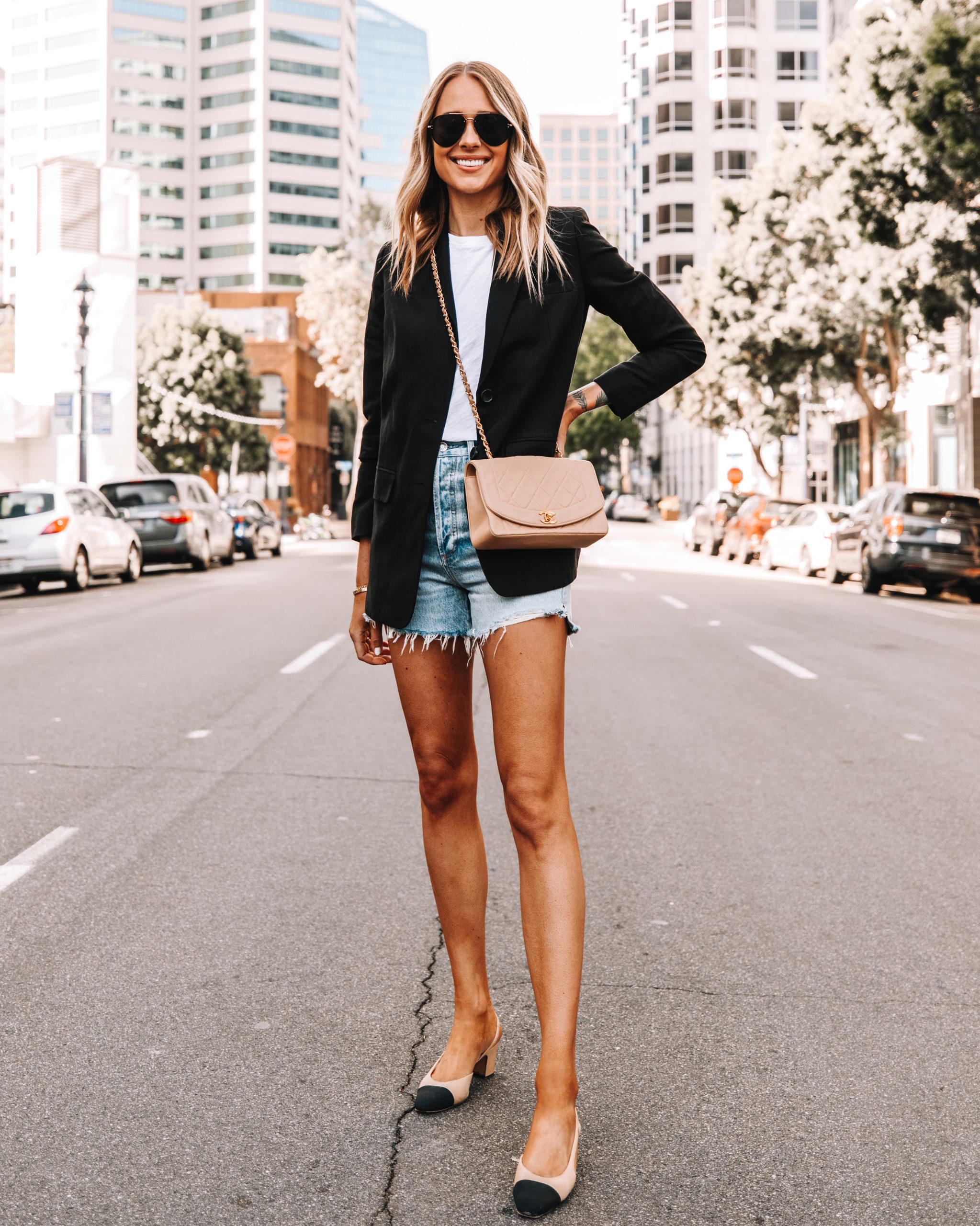 Fashion Jackson Wearing Everlane Black Blazer White Tshirt Ripped Denim Shorts Chanel Slingbacks