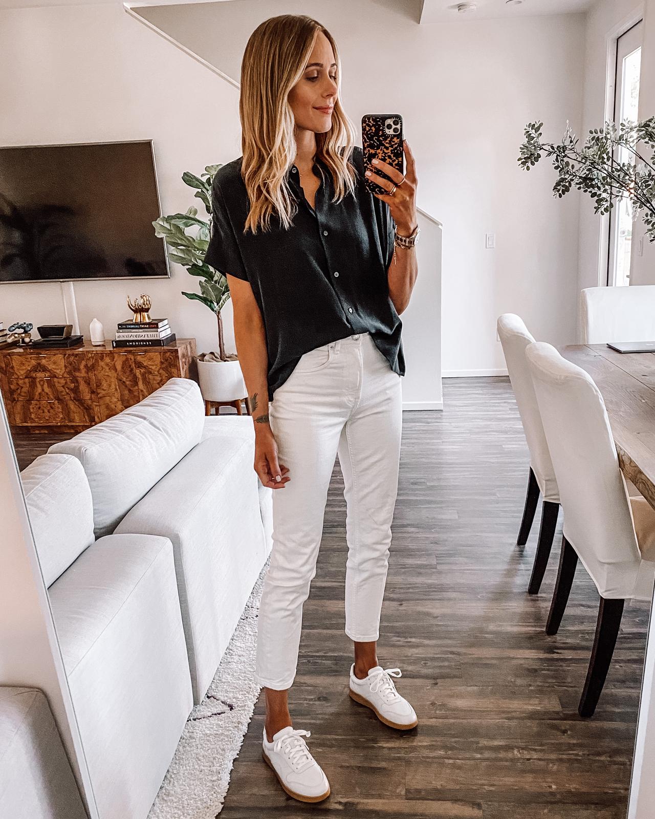 Fashion Jackson Wearing Everlane Black Short Sleeve Button Front Shirt White Jeans Everlane White Sneakers