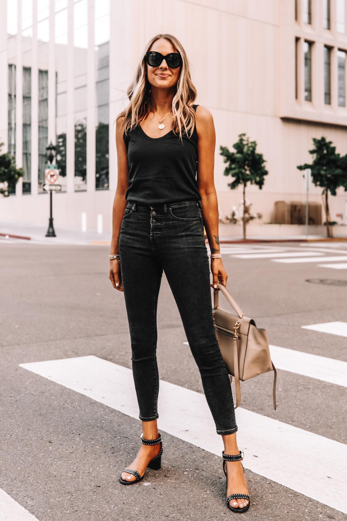 Fashion Jackson Wearing Everlane Black The Air Cami Everlane Black Skinny Jeans Givenchy Black Elegant 60 studded leather sandals 1