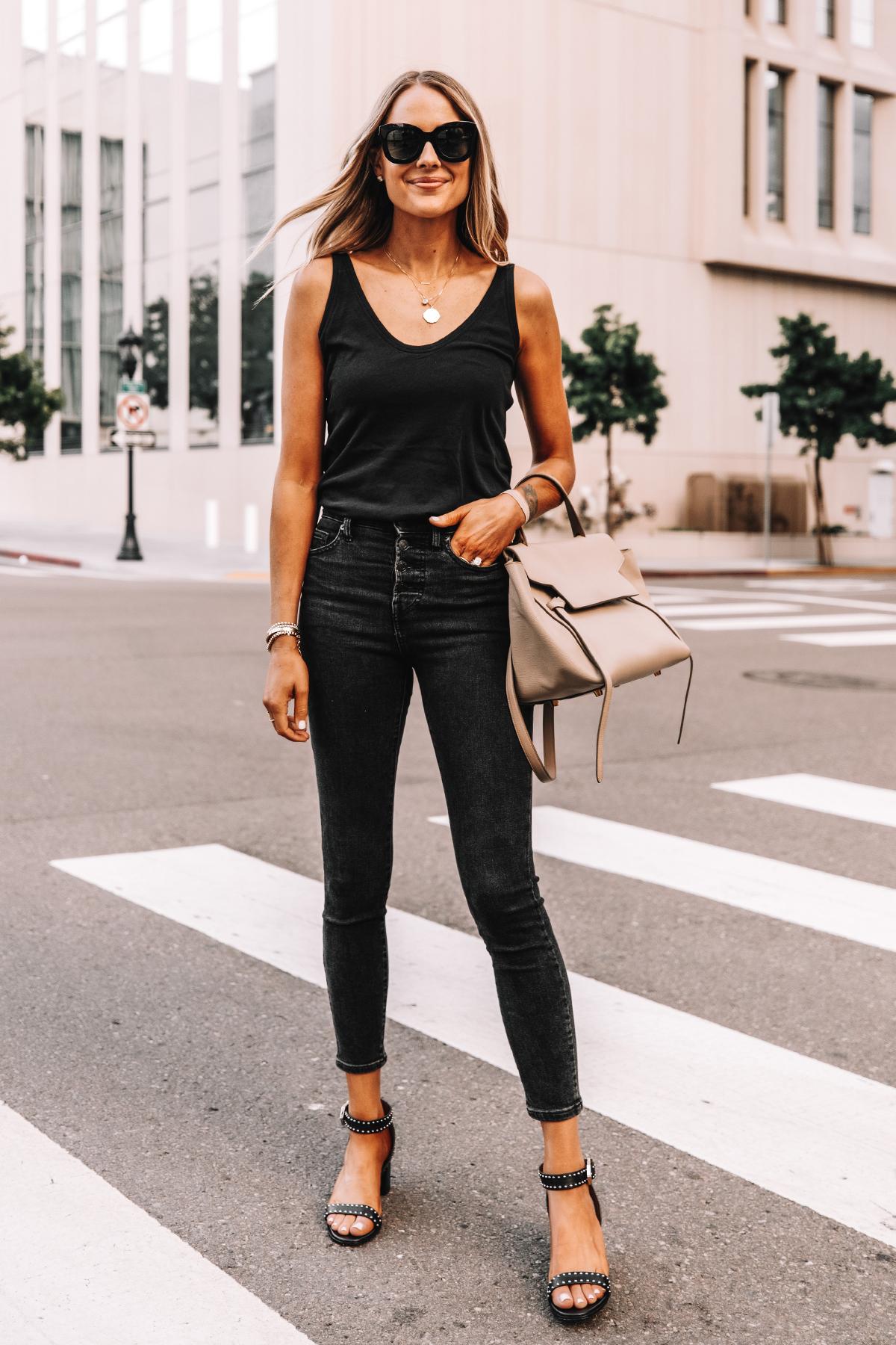 Fashion Jackson Wearing Everlane Black The Air Cami Everlane Black Skinny Jeans Givenchy Black Elegant 60 studded leather sandals Celine Belt Bag