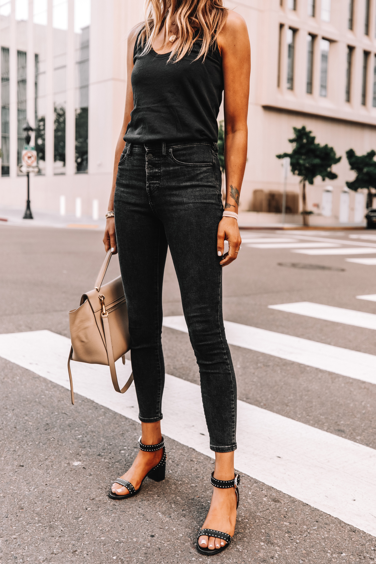 Fashion Jackson Wearing Everlane Black The Air Cami Everlane Black Skinny Jeans Givenchy Black Elegant 60 studded leather sandals