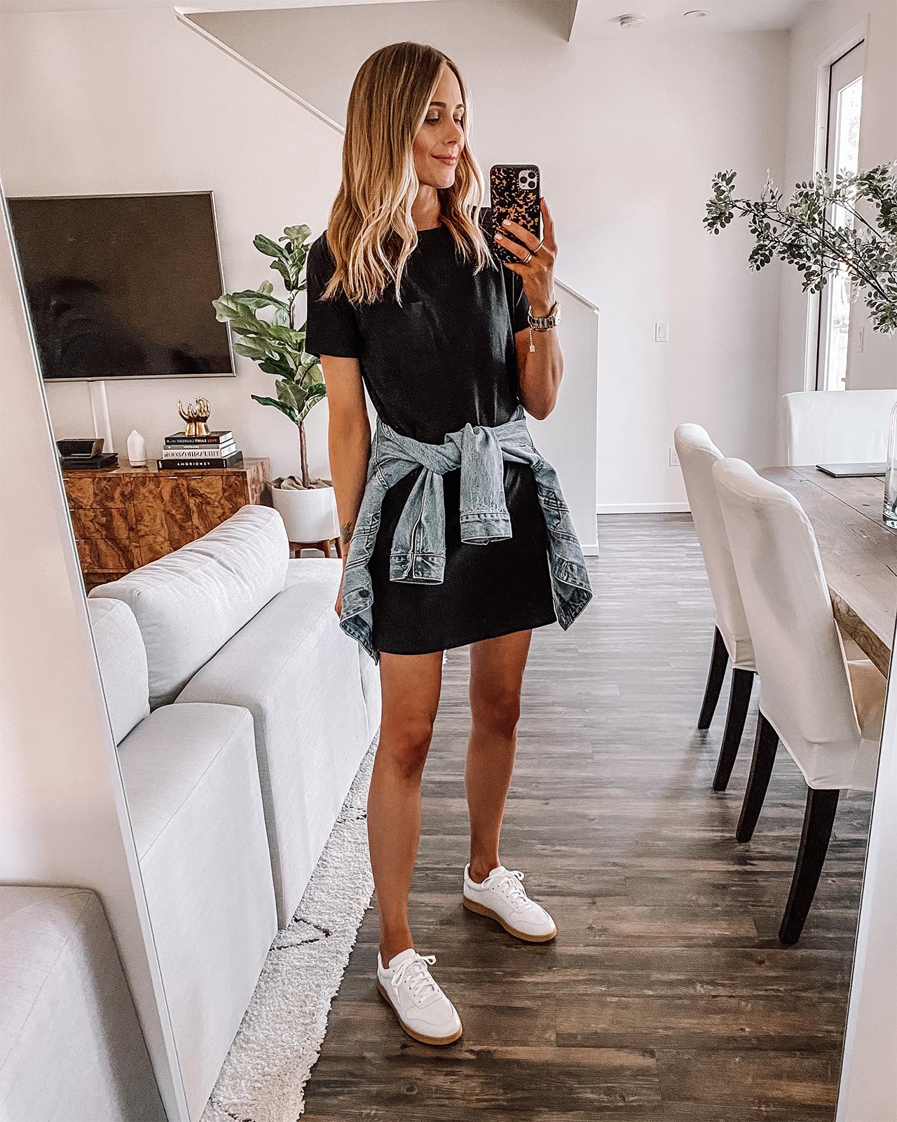 Fashion Jackson Wearing Everlane Black Tshirt Dress Everlane White Sneakers Denim Jacket