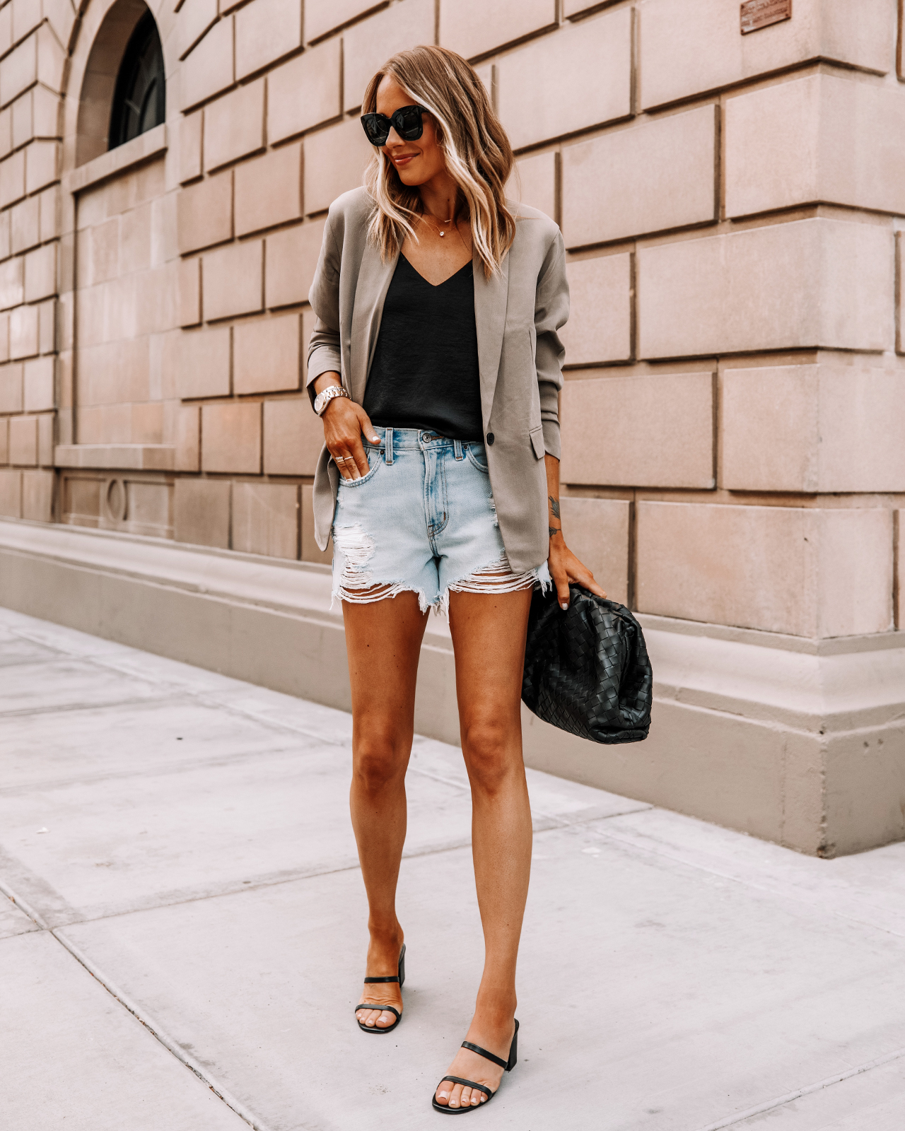 Fashion Jackson Wearing Everlane Taupe Blazer Black Cami Ripped Denim Shorts Black Sandals