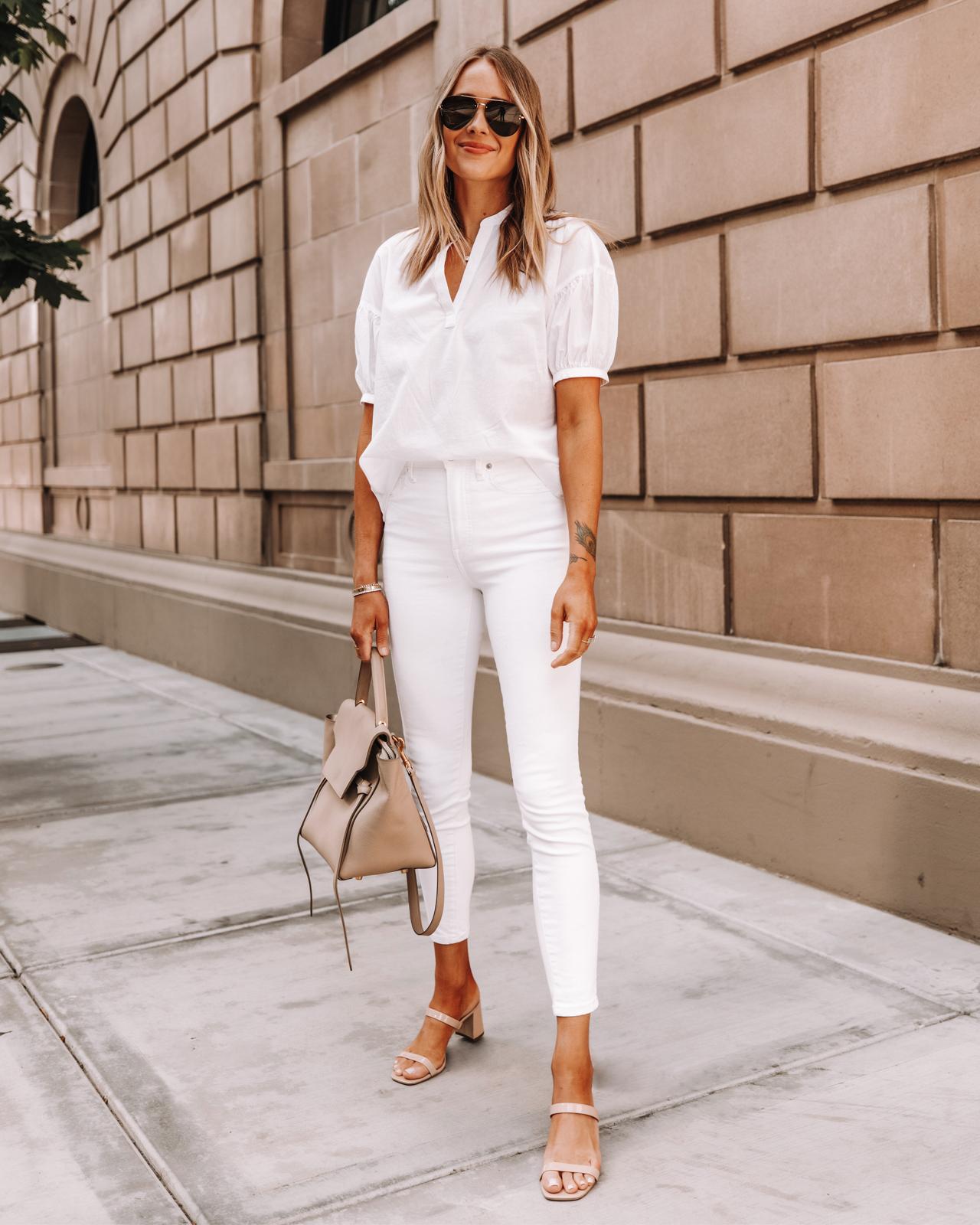 Fashion Jackson Wearing Everlane White Puff Sleeve Top Everlane White Skinny Jeans Beige Sandals