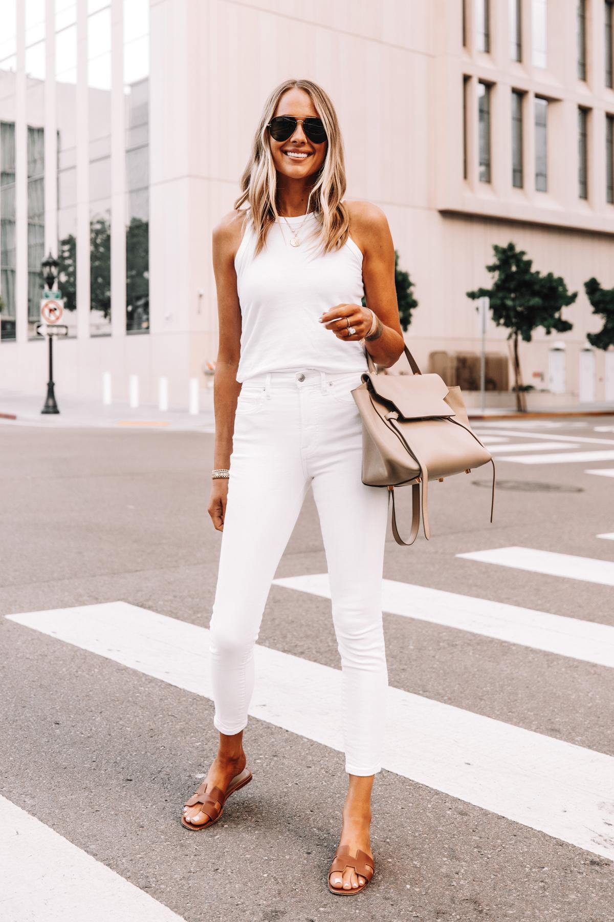 Fashion Jackson Wearing Everlane White The Organic Cotton Cutaway Tank Everlane White Skinny Jeans Hermes Oran Sandals Celine Belt Bag