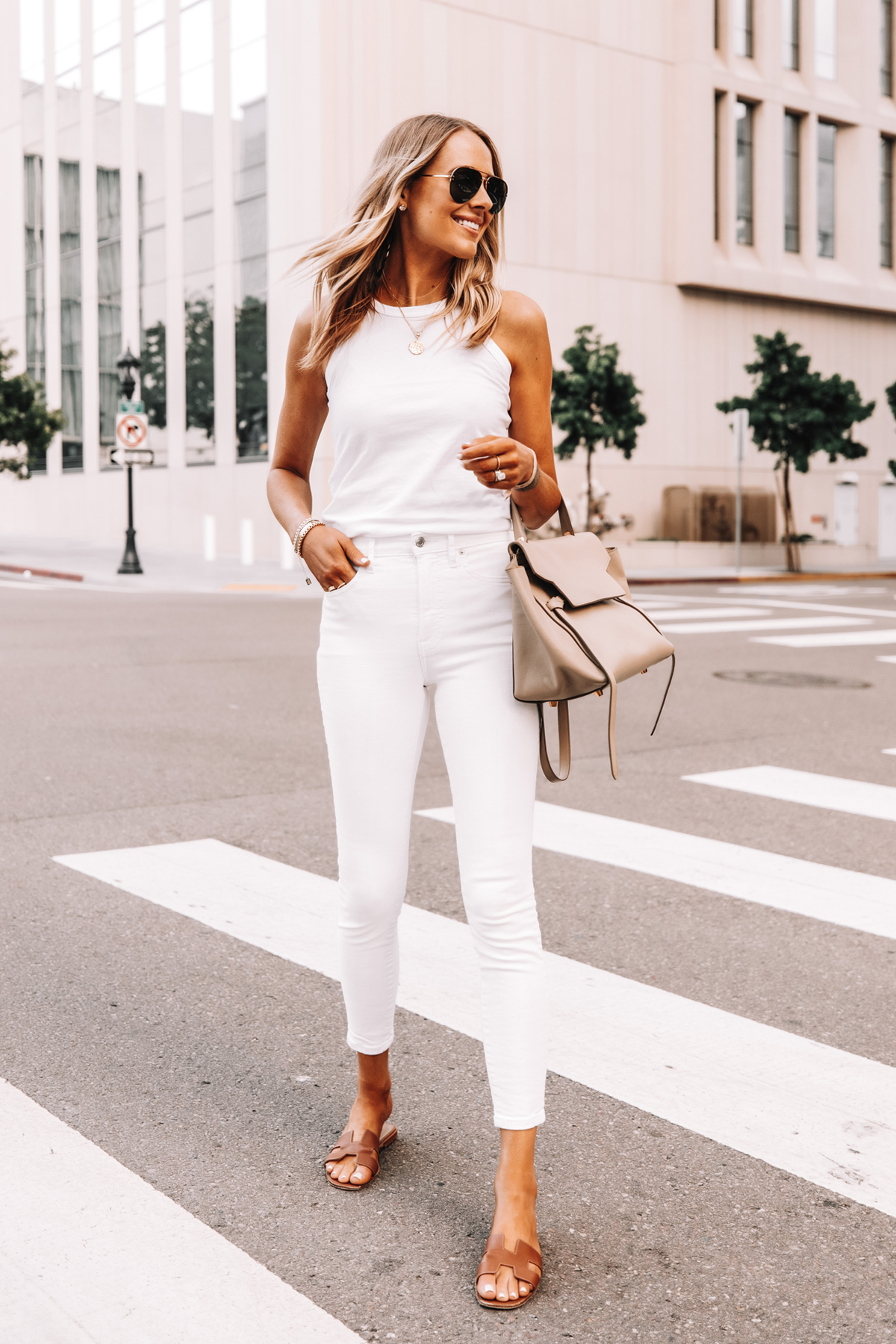Fashion Jackson Wearing Everlane White The Organic Cotton Cutaway Tank Everlane White Skinny Jeans Hermes Sandals Celine Belt Bag
