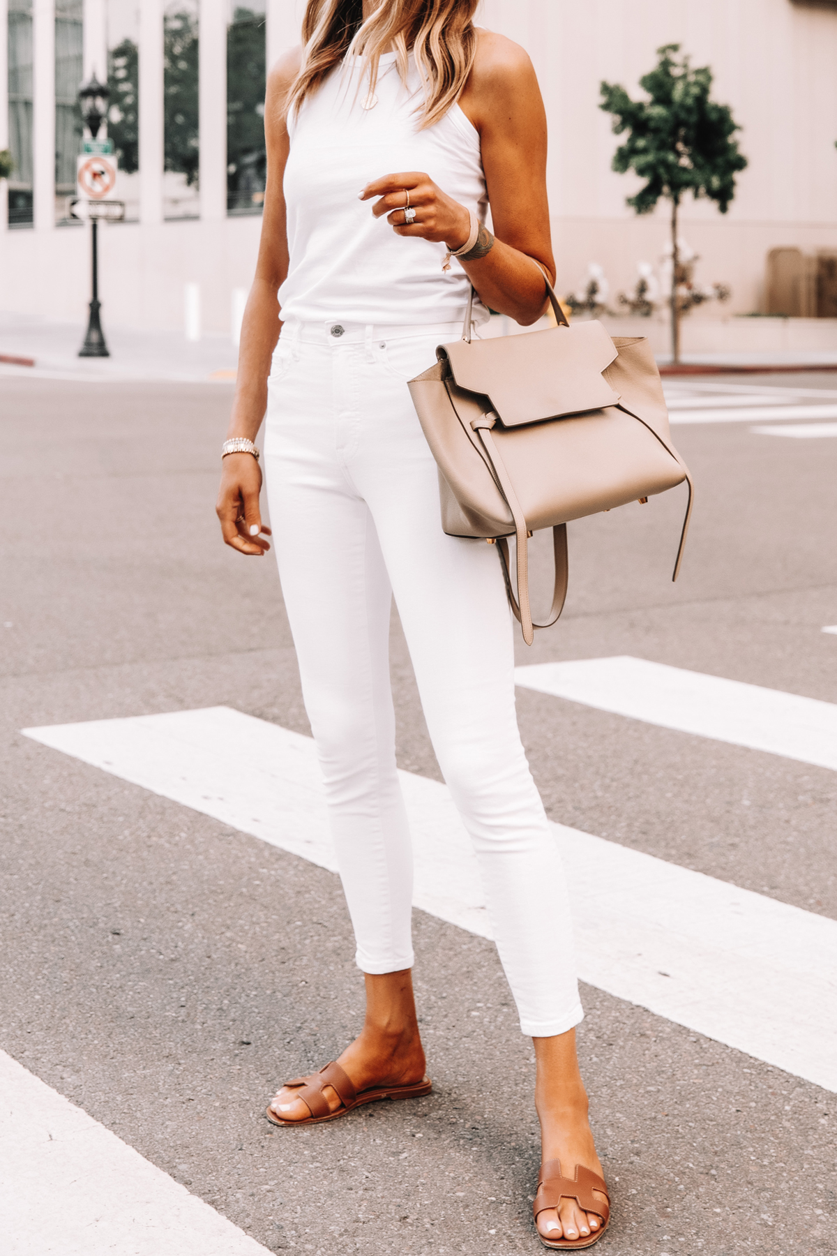 Fashion Jackson Wearing Everlane White The Organic Cotton Cutaway Tank Everlane White Skinny Jeans Hermes Sandals