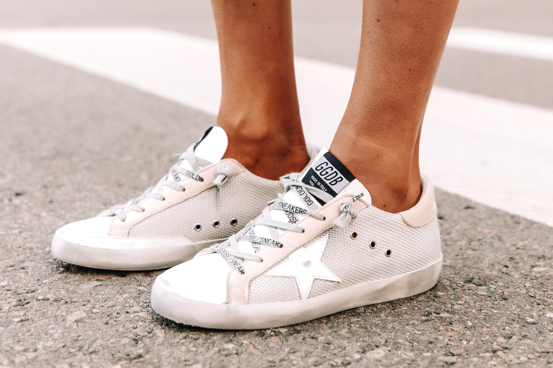 Fashion Jackson Wearing Golden Goose Super-Star Private Edition Woven Sneakers