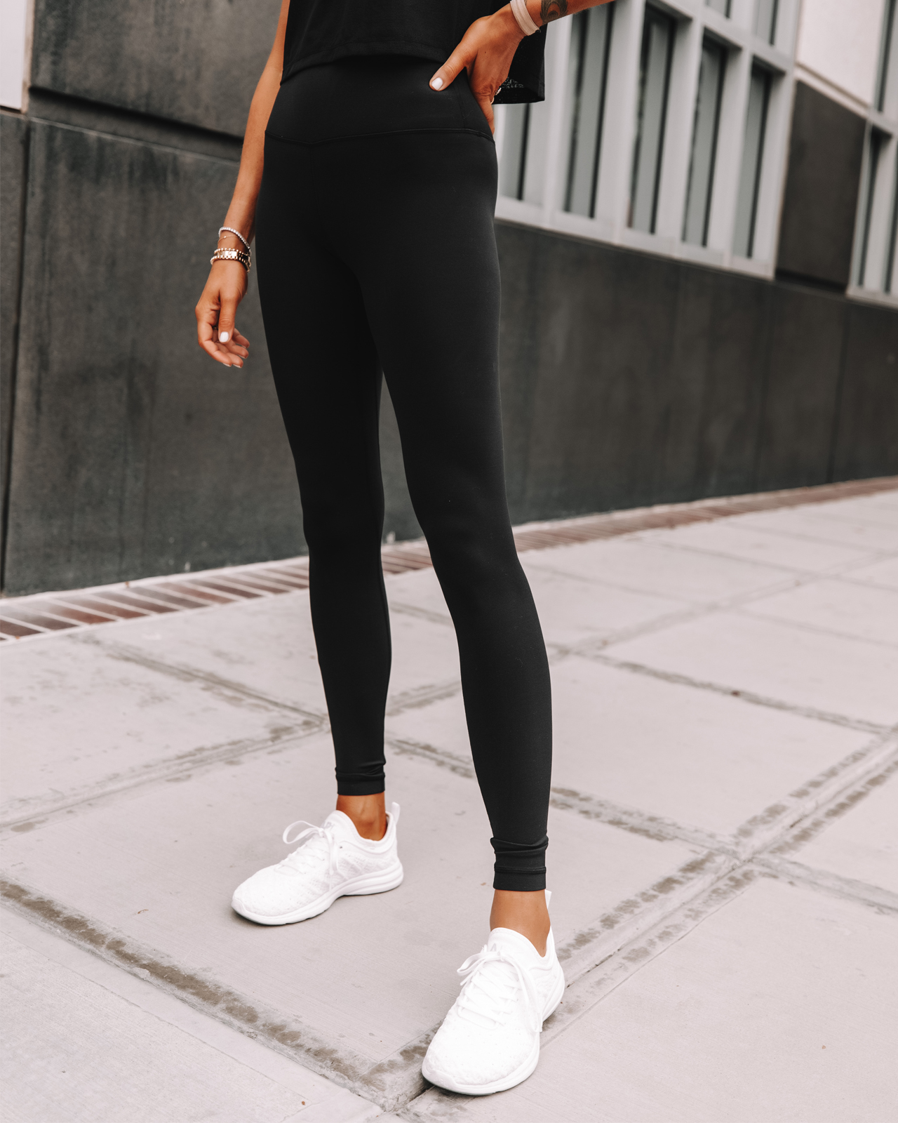 Fashion Jackson Wearing lululemon Align Black Leggings APL White Sneakers