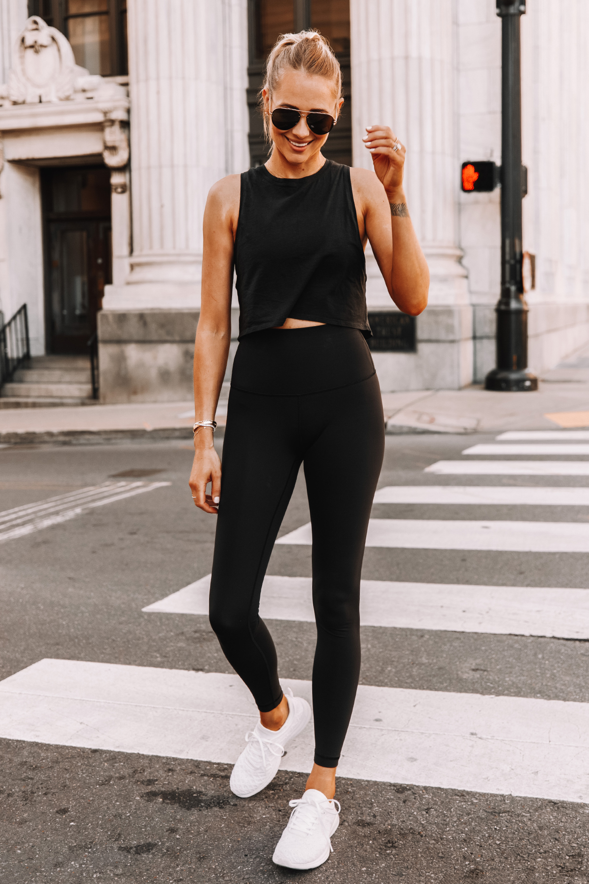Fashion Jackson Wearing lululemon Black Tank Black Leggings White Sneakers 2