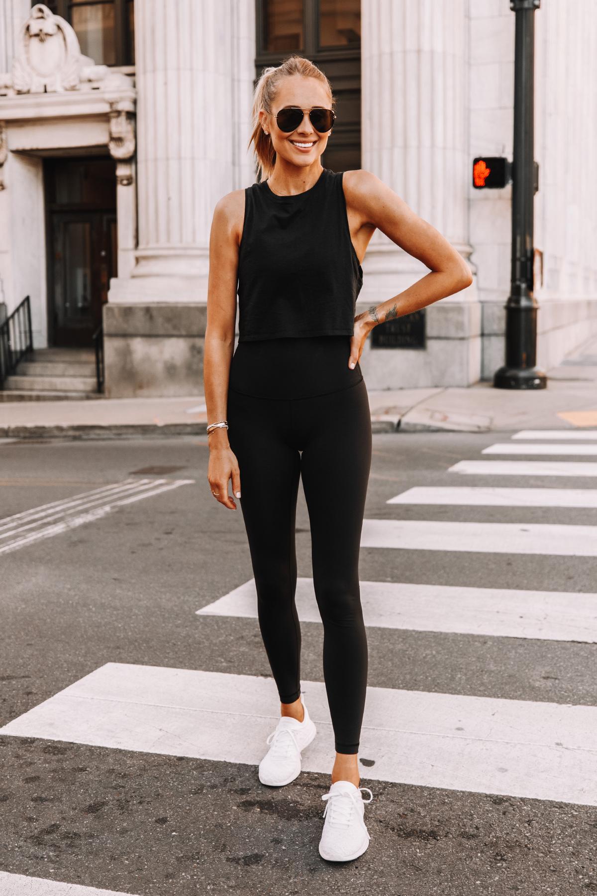 Fashion Jackson Wearing lululemon Black Tank Black Leggings White Sneakers 3